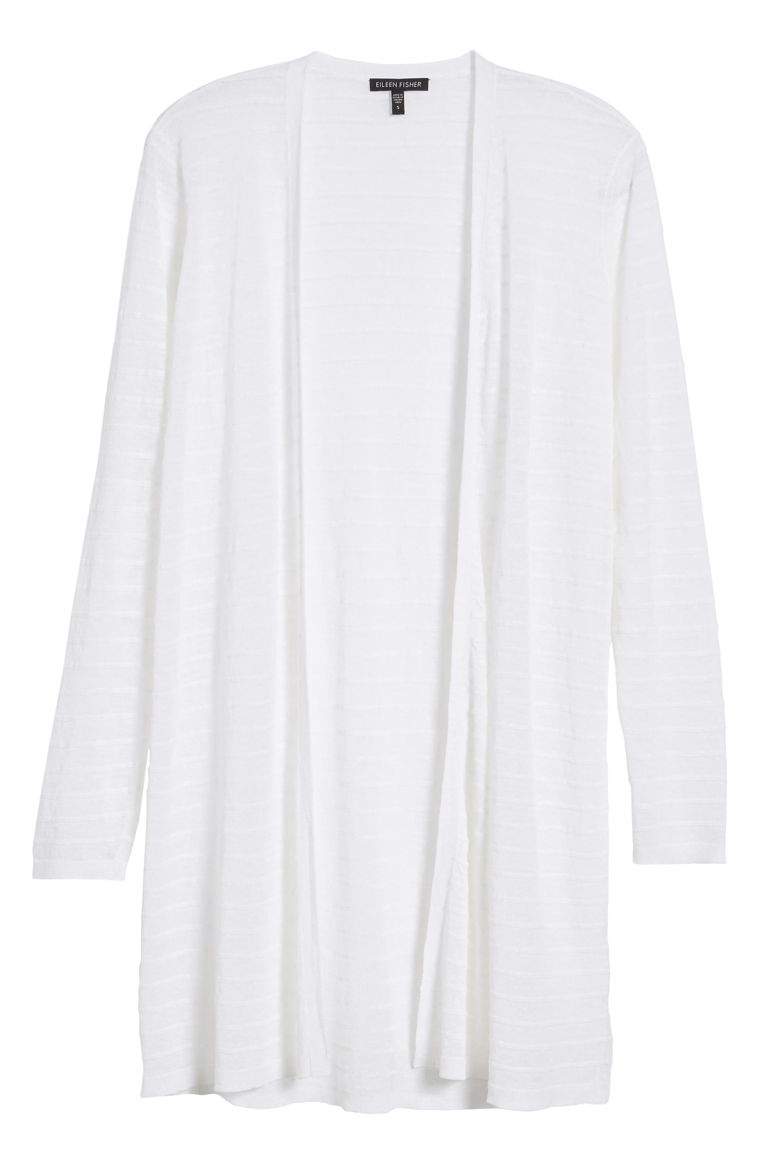 Alternate Image 6  - Eileen Fisher Long Organic Linen Blend Jacquard Cardigan