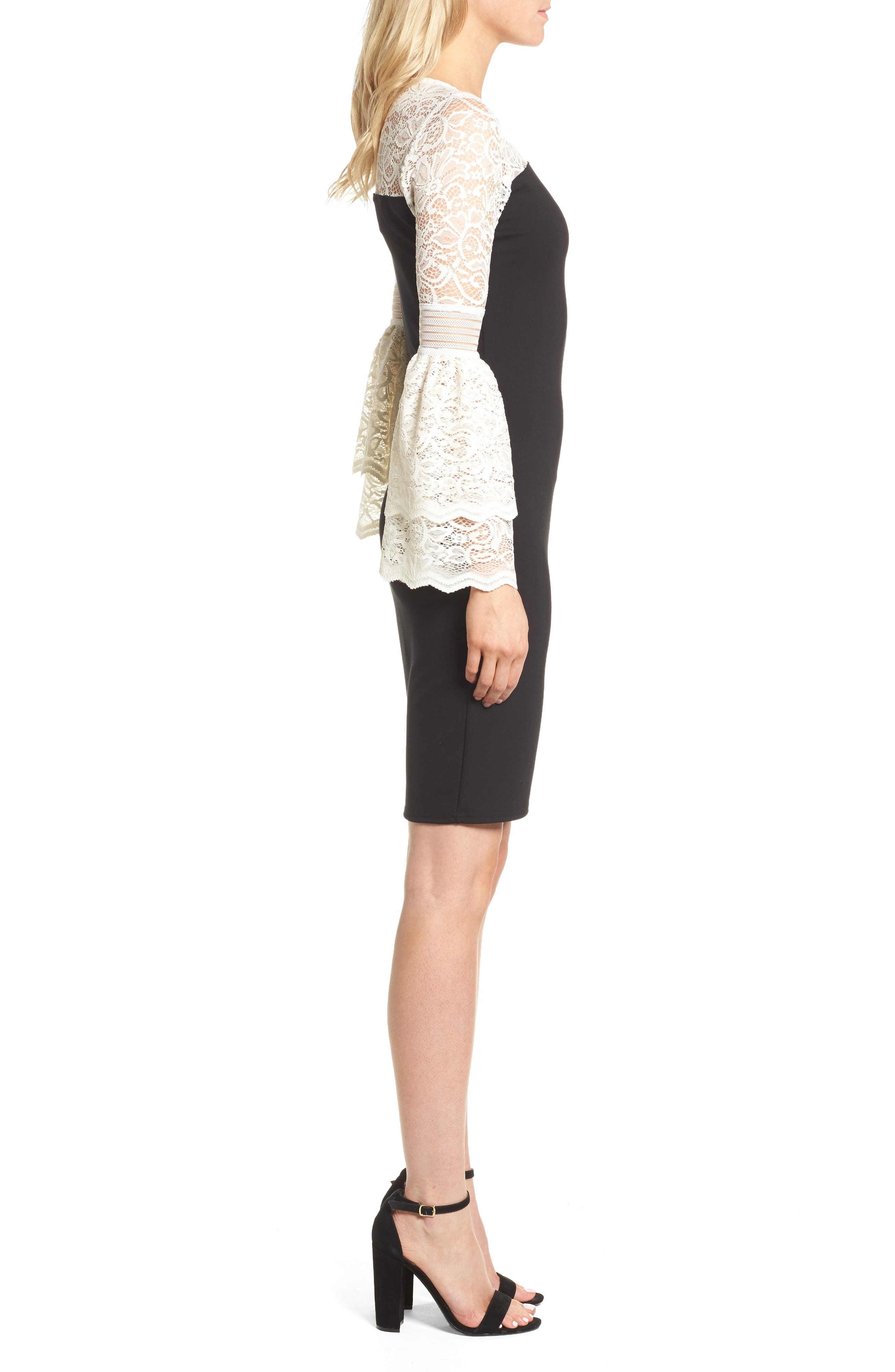 Floetry Bell Sleeve Sheath Dress,                             Alternate thumbnail 3, color,                             Cream Lace/ Black