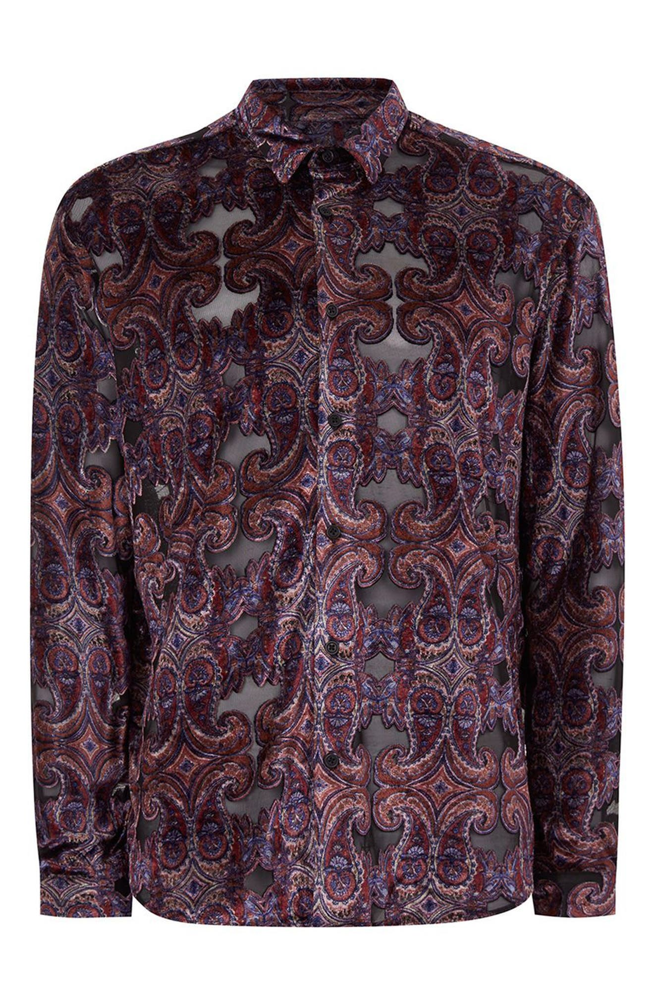 Alternate Image 4  - Topman Paisley Classic Fit Shirt