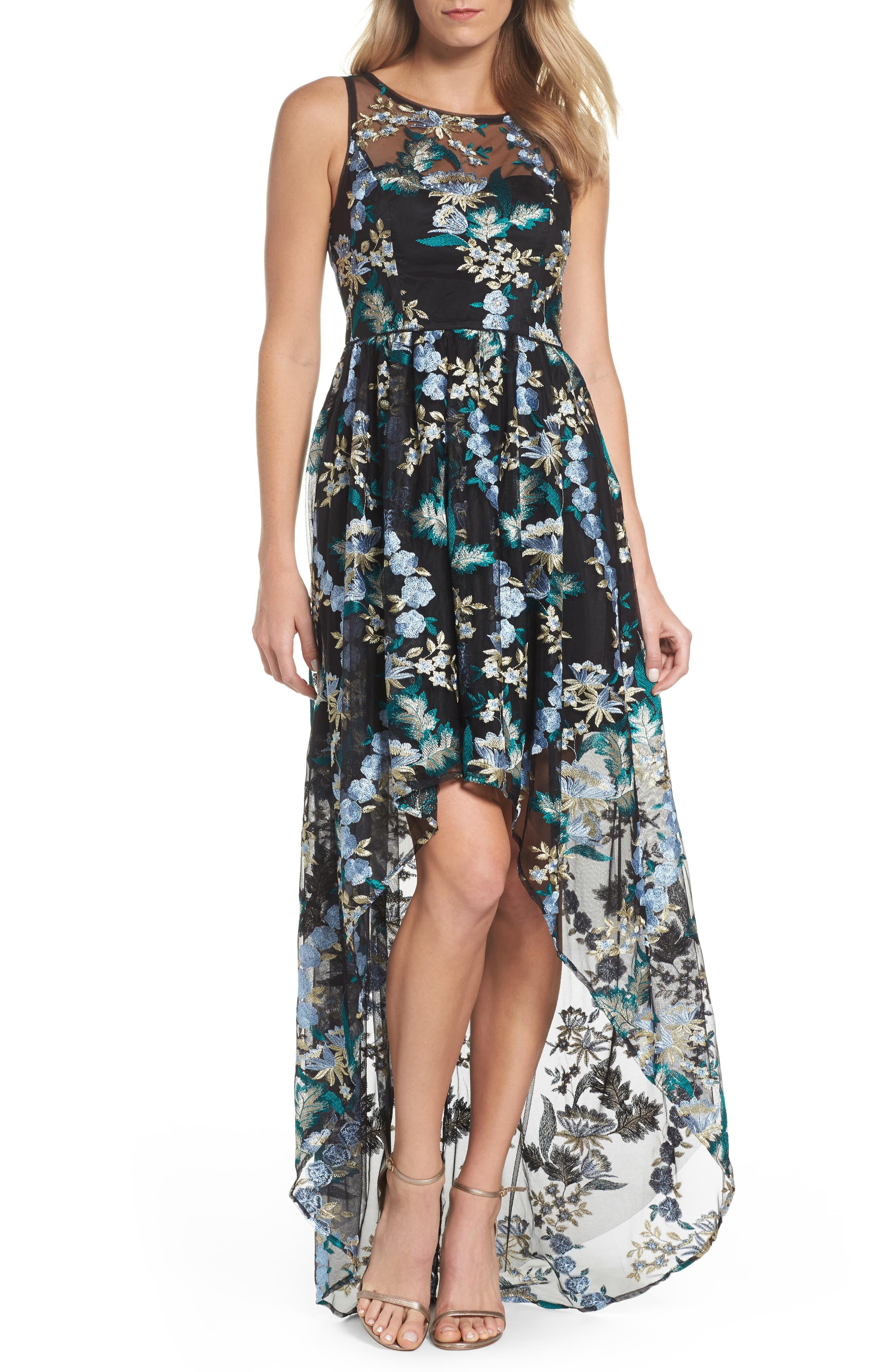 Embroidered Tulle High/Low Dress,                             Main thumbnail 1, color,                             Blue Multi