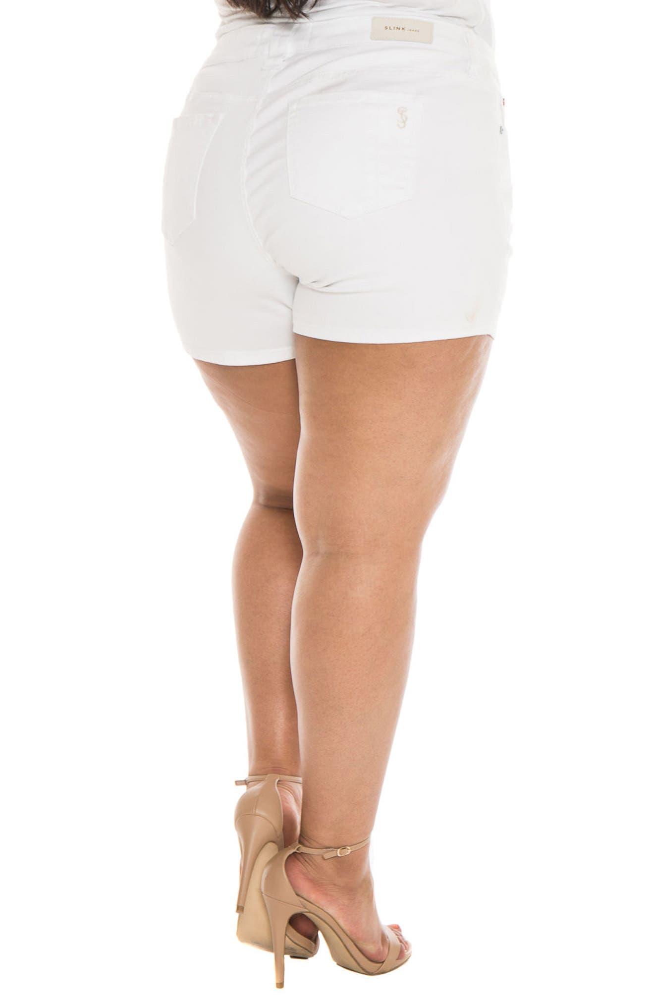 Alternate Image 2  - SLINK Jeans Stretch Denim Shorts (Plus Size)