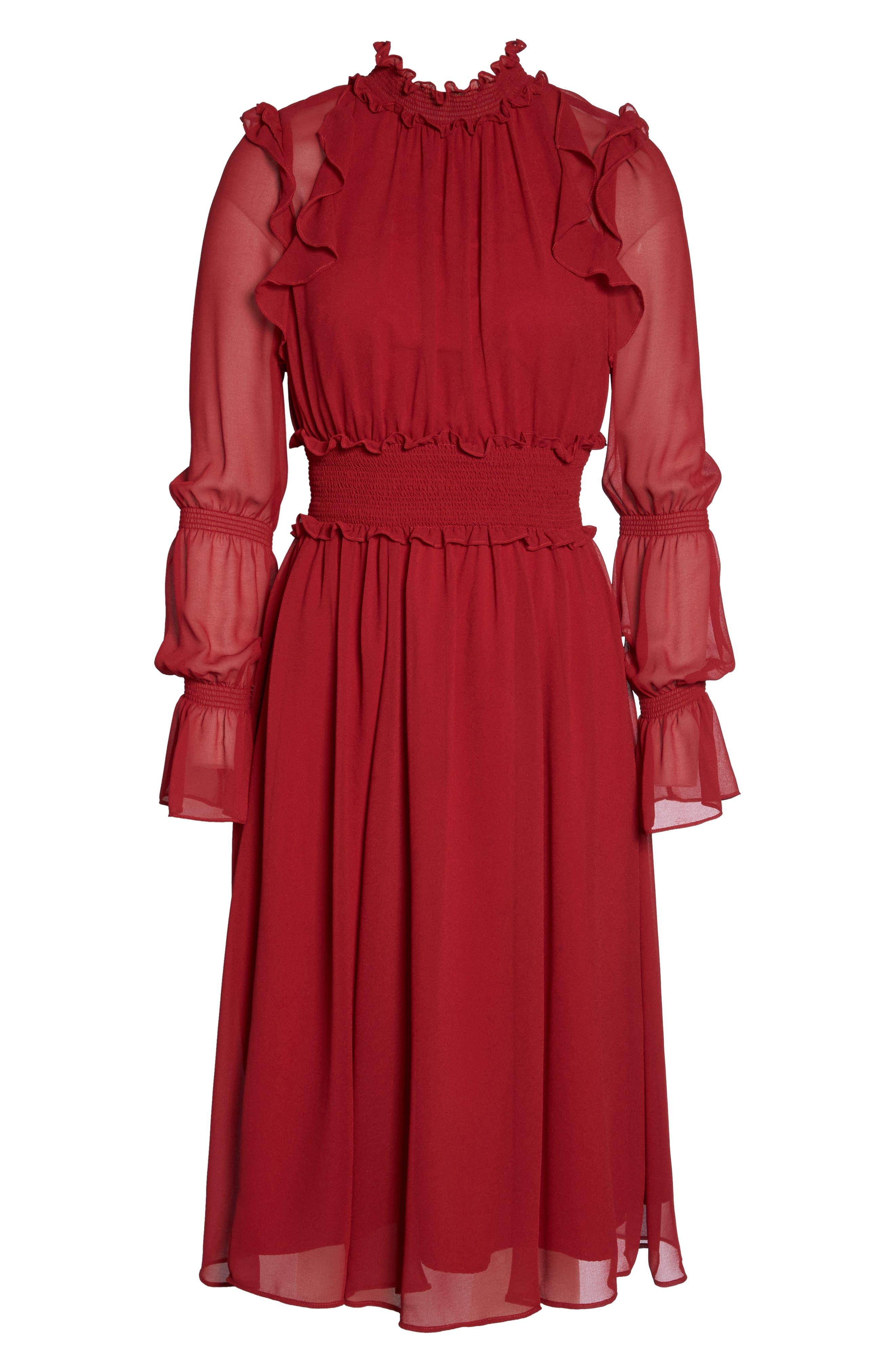 Ruffle Midi Dress,                             Alternate thumbnail 7, color,                             Red Jester