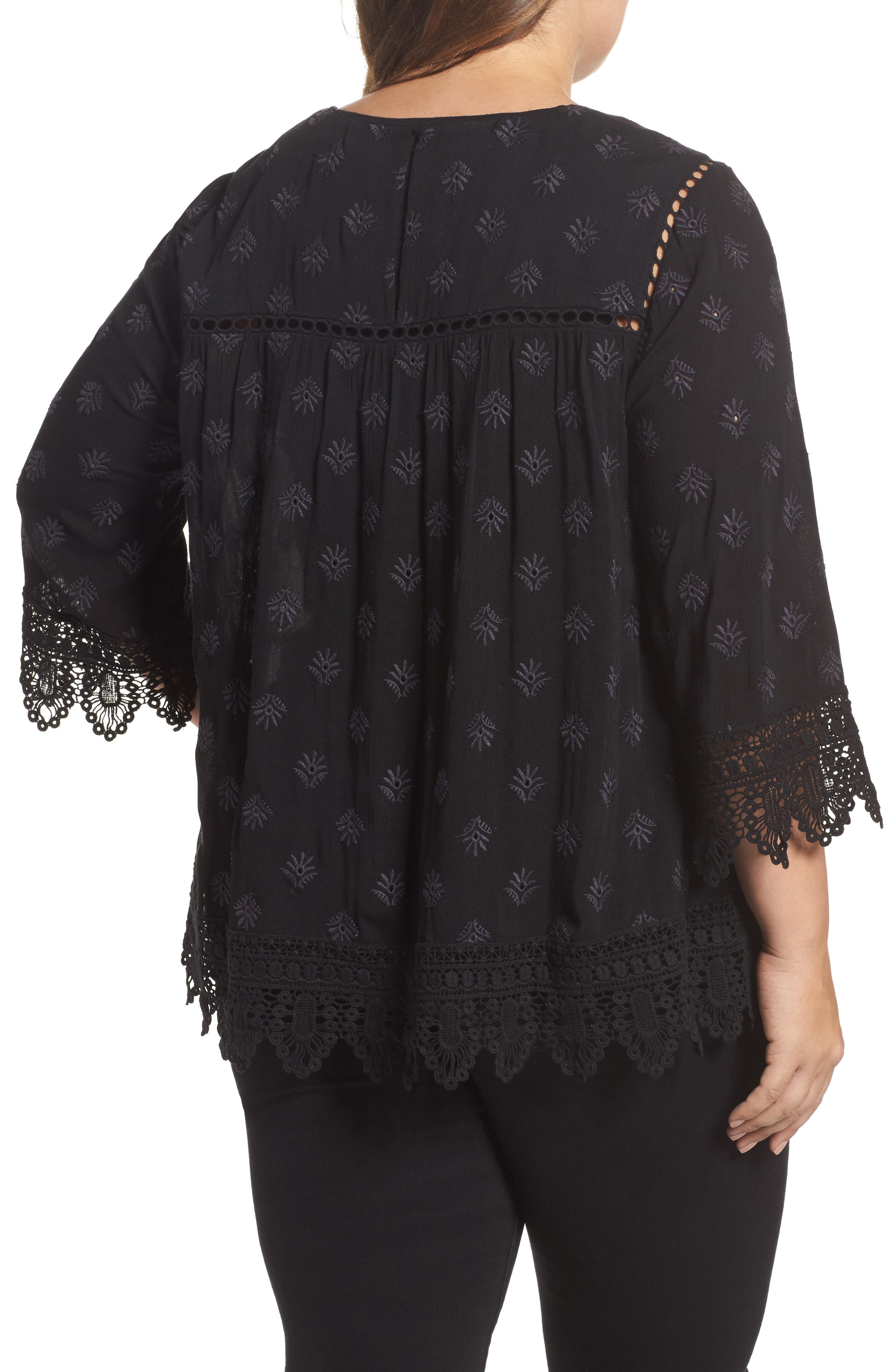 Alternate Image 2  - Daniel Rainn Eyelet Embroidered Gauze Blouse (Plus Size)