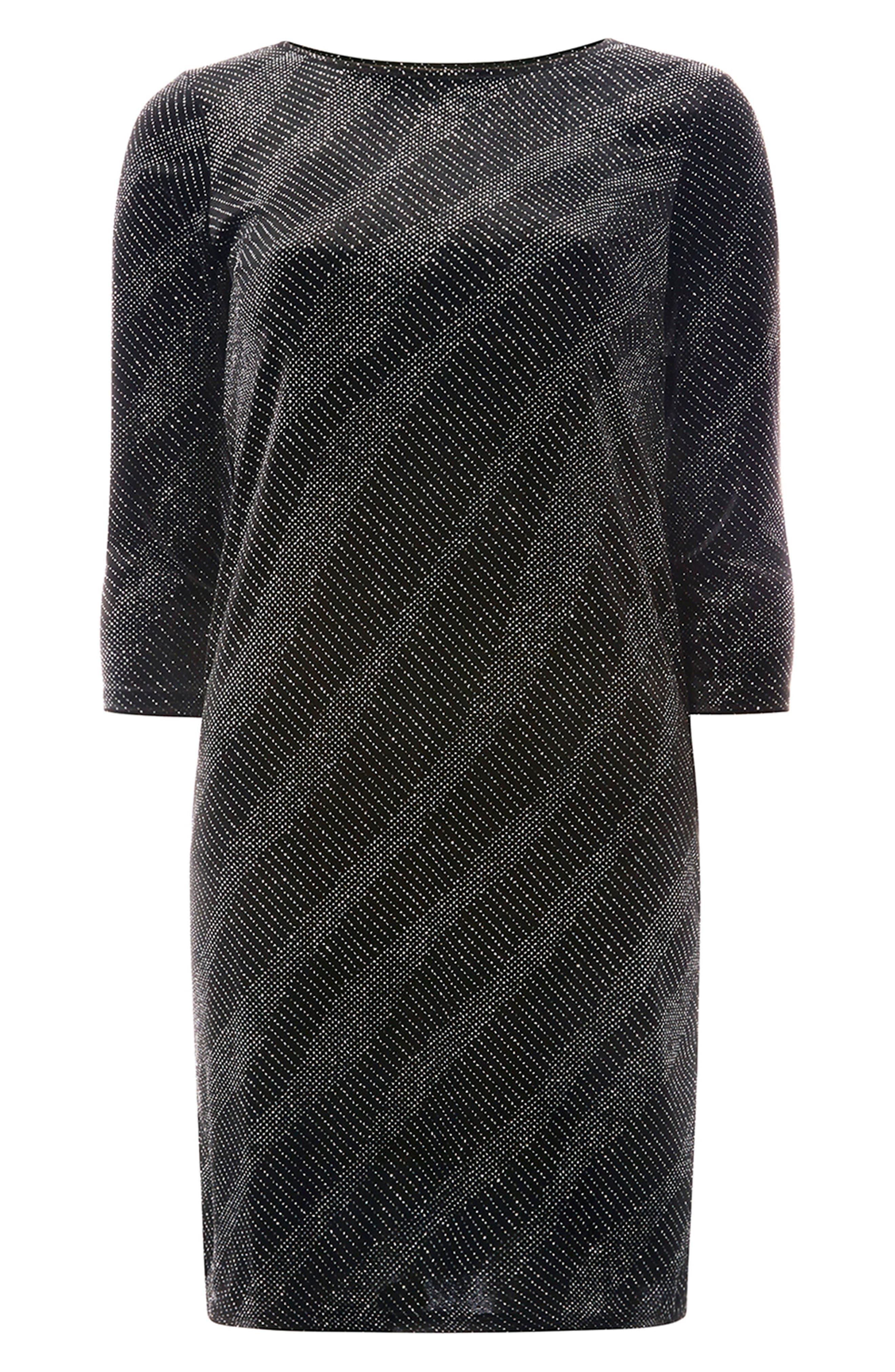 Metallic Shift Dress,                             Alternate thumbnail 5, color,                             Black