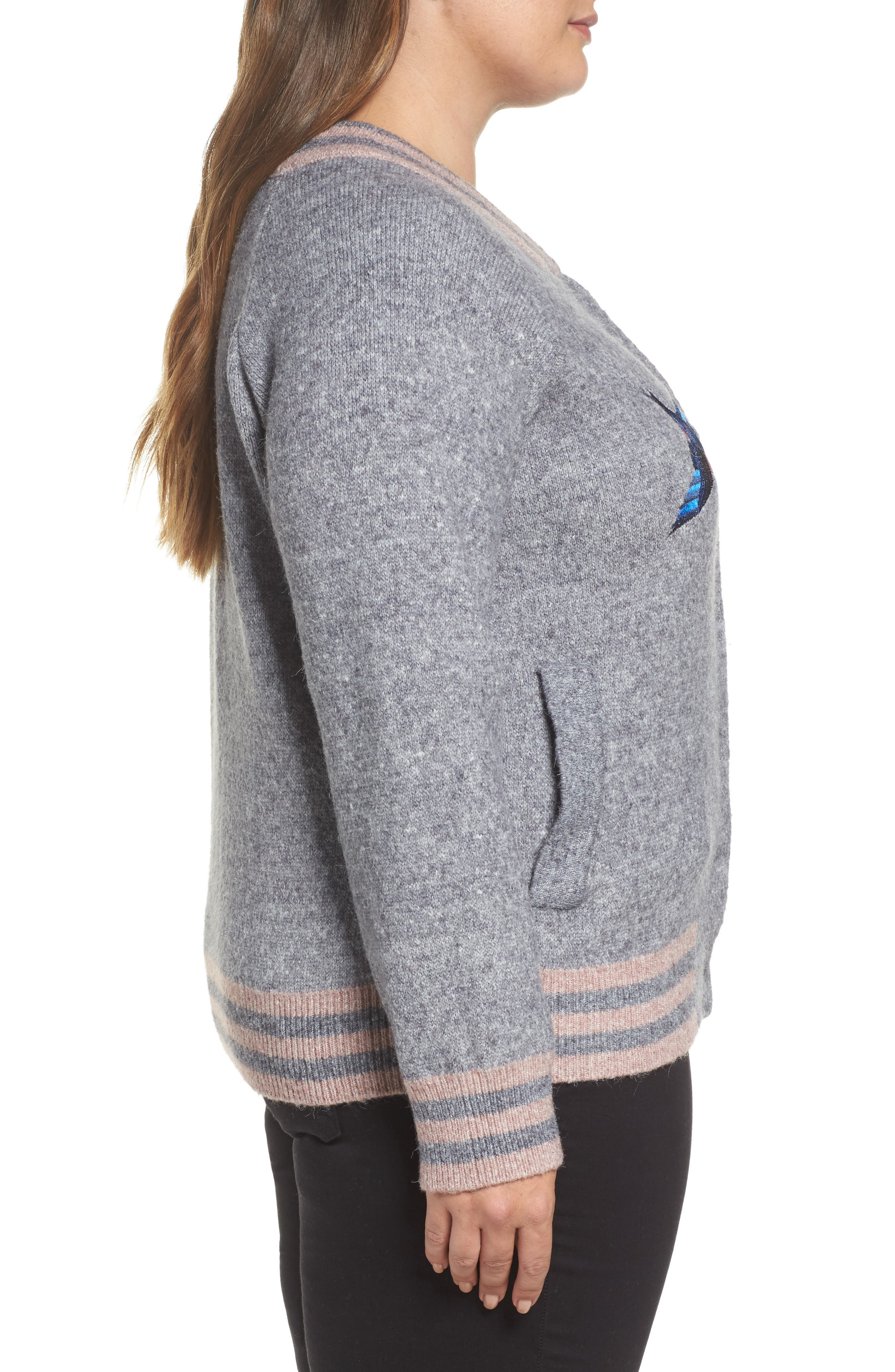 Zanja Embroidered Knit Bomber Jacket,                             Alternate thumbnail 3, color,                             Medium Grey Melange