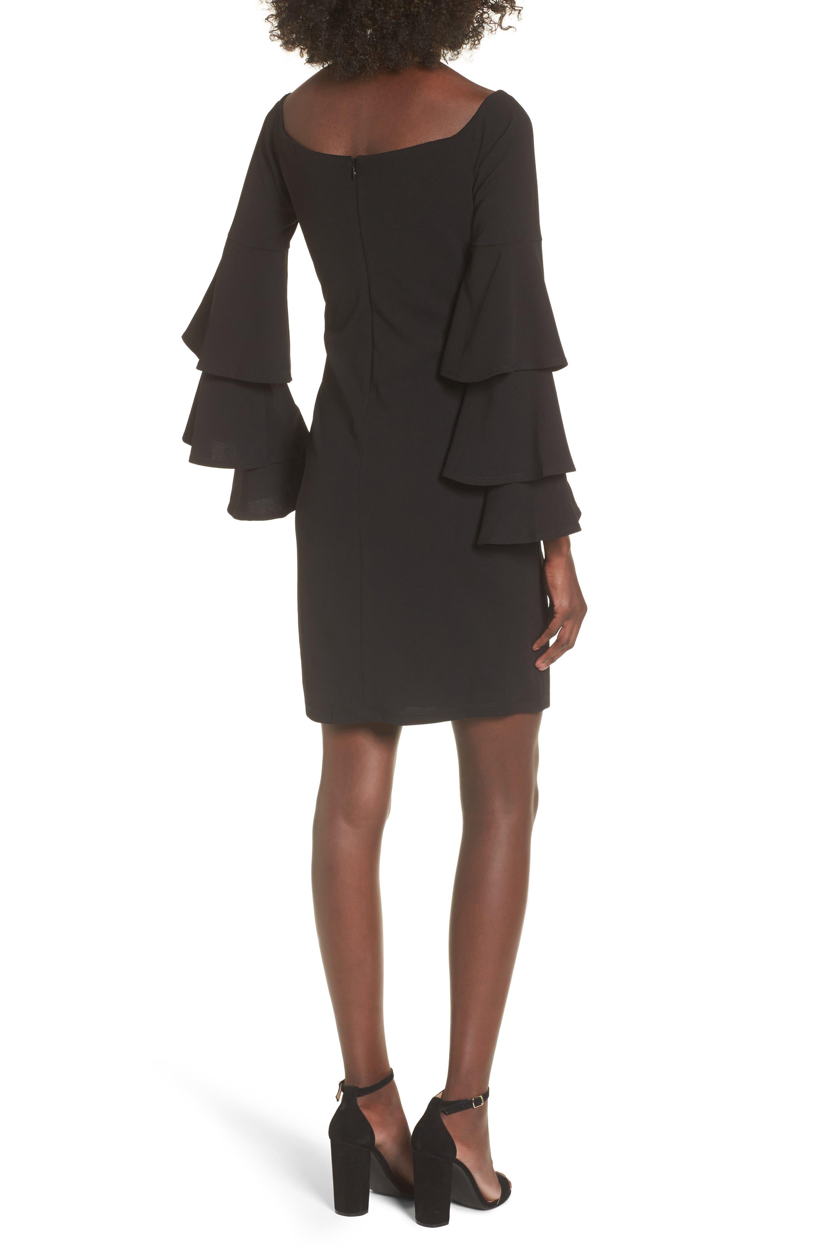 Ruffle Sleeve Off the Shoulder Dress,                             Alternate thumbnail 2, color,                             Black