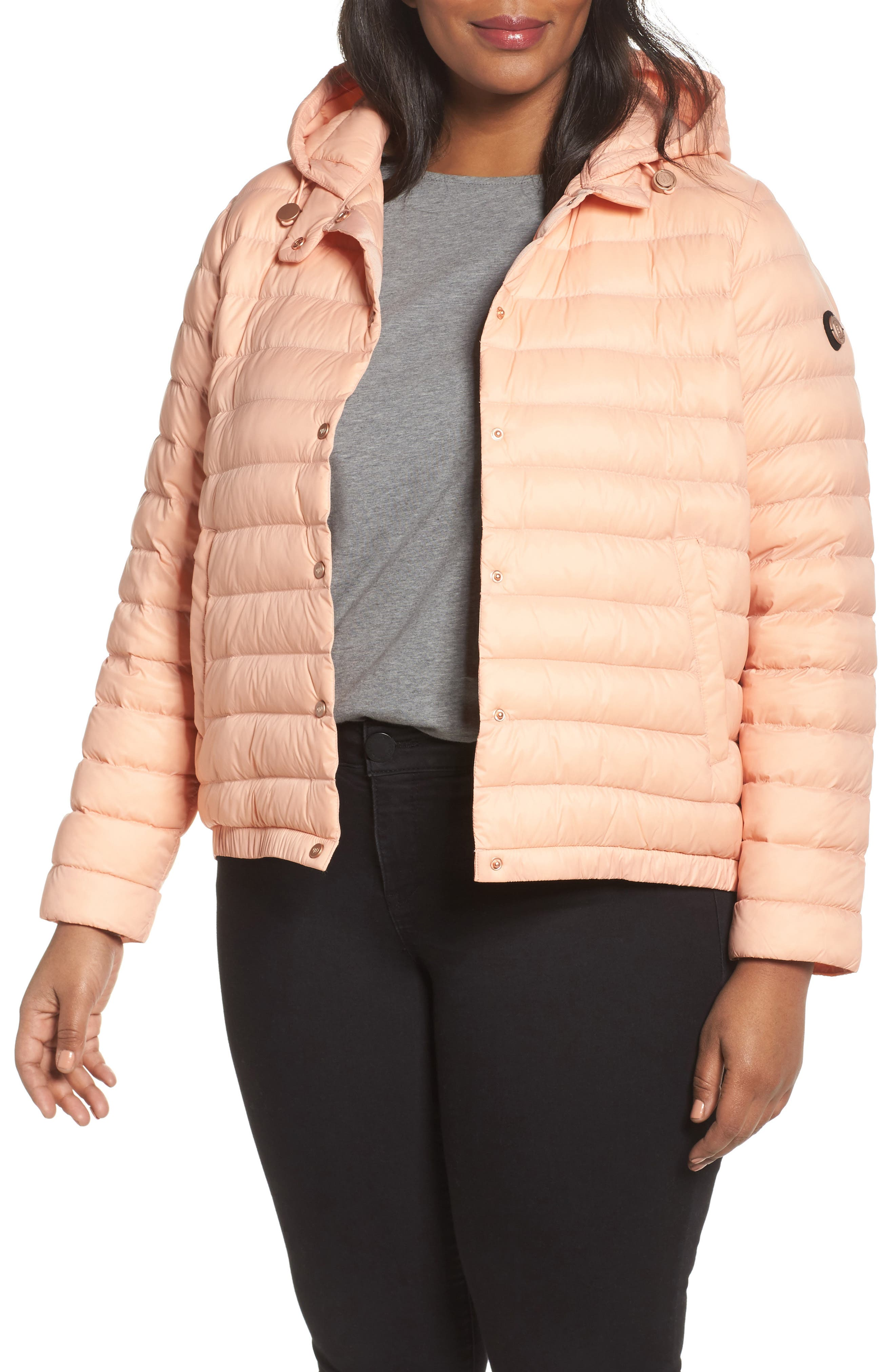 Water Resistant Insulated Hooded Bomber Jacket,                         Main,                         color, Peach