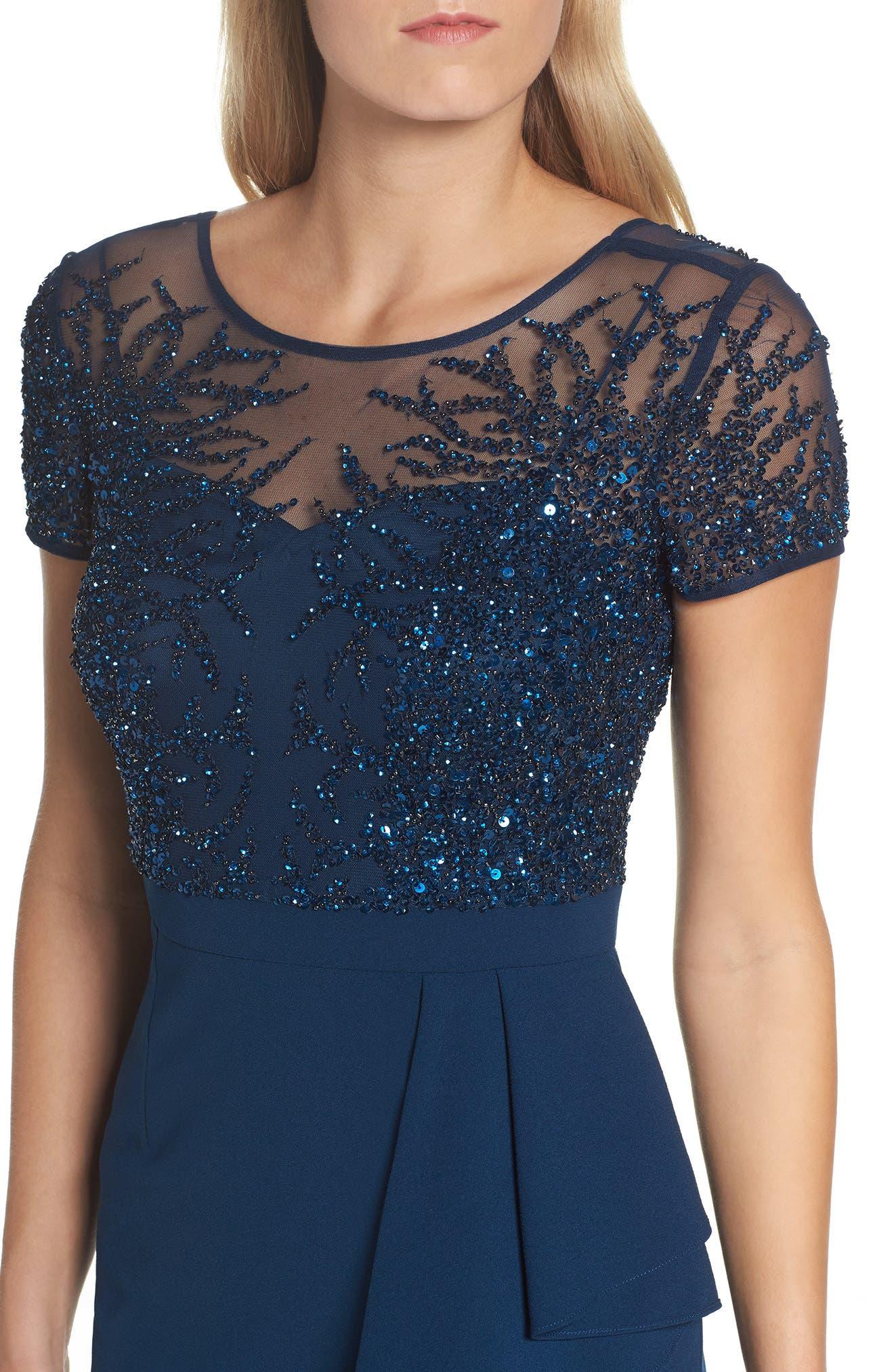 Beaded Bodice Ruffle Gown,                             Alternate thumbnail 4, color,                             Deep Blue