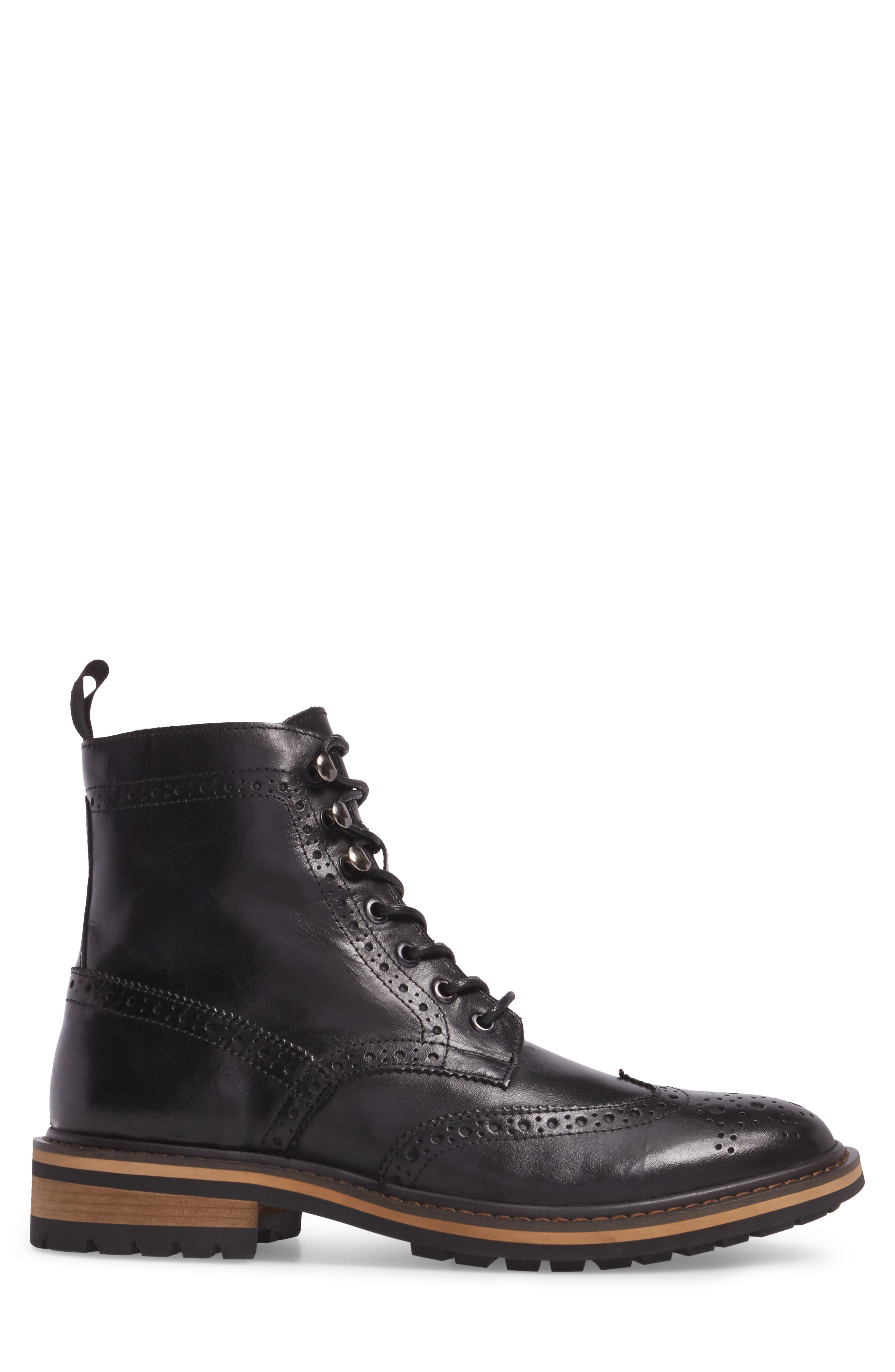 Grange Wingtip Boot,                             Alternate thumbnail 3, color,                             Black Smooth Leather