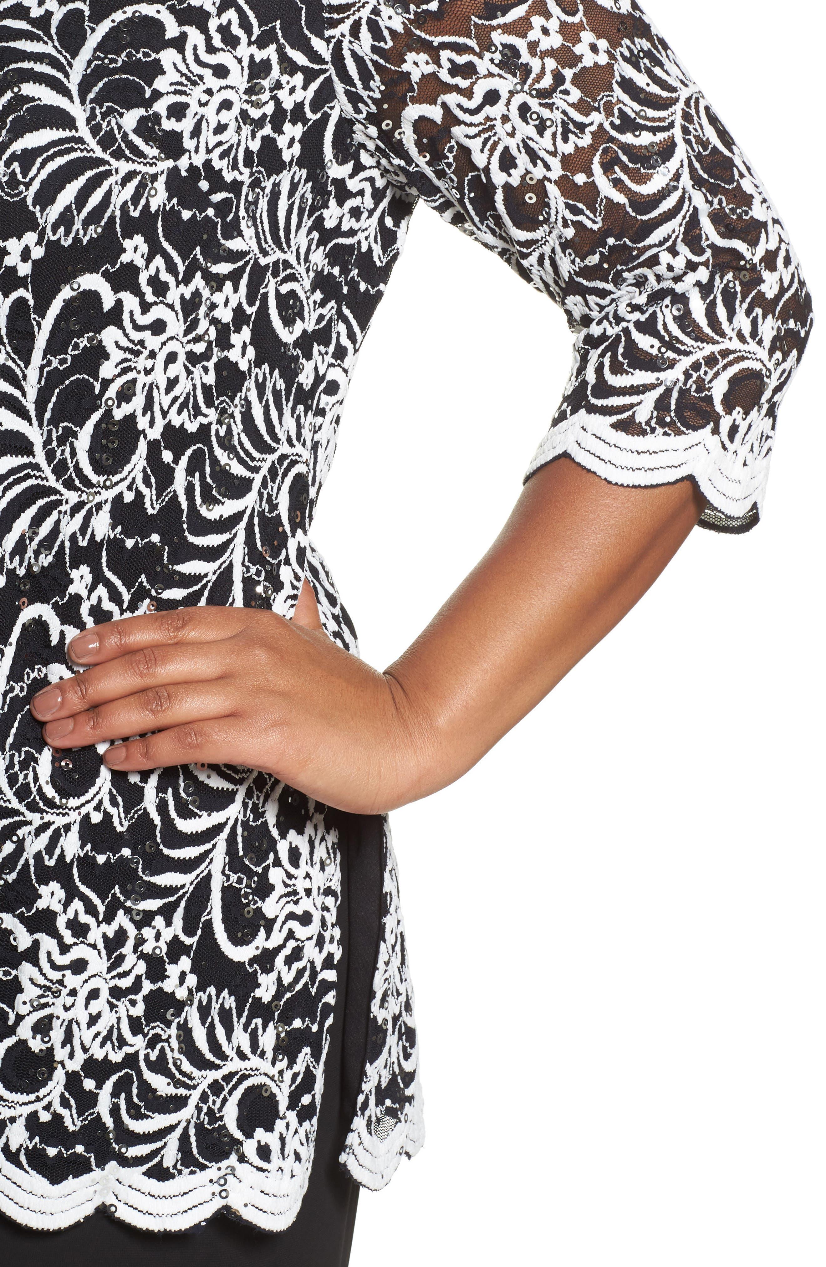 Embroidered Tulle Blouse,                             Alternate thumbnail 4, color,                             Black/ White