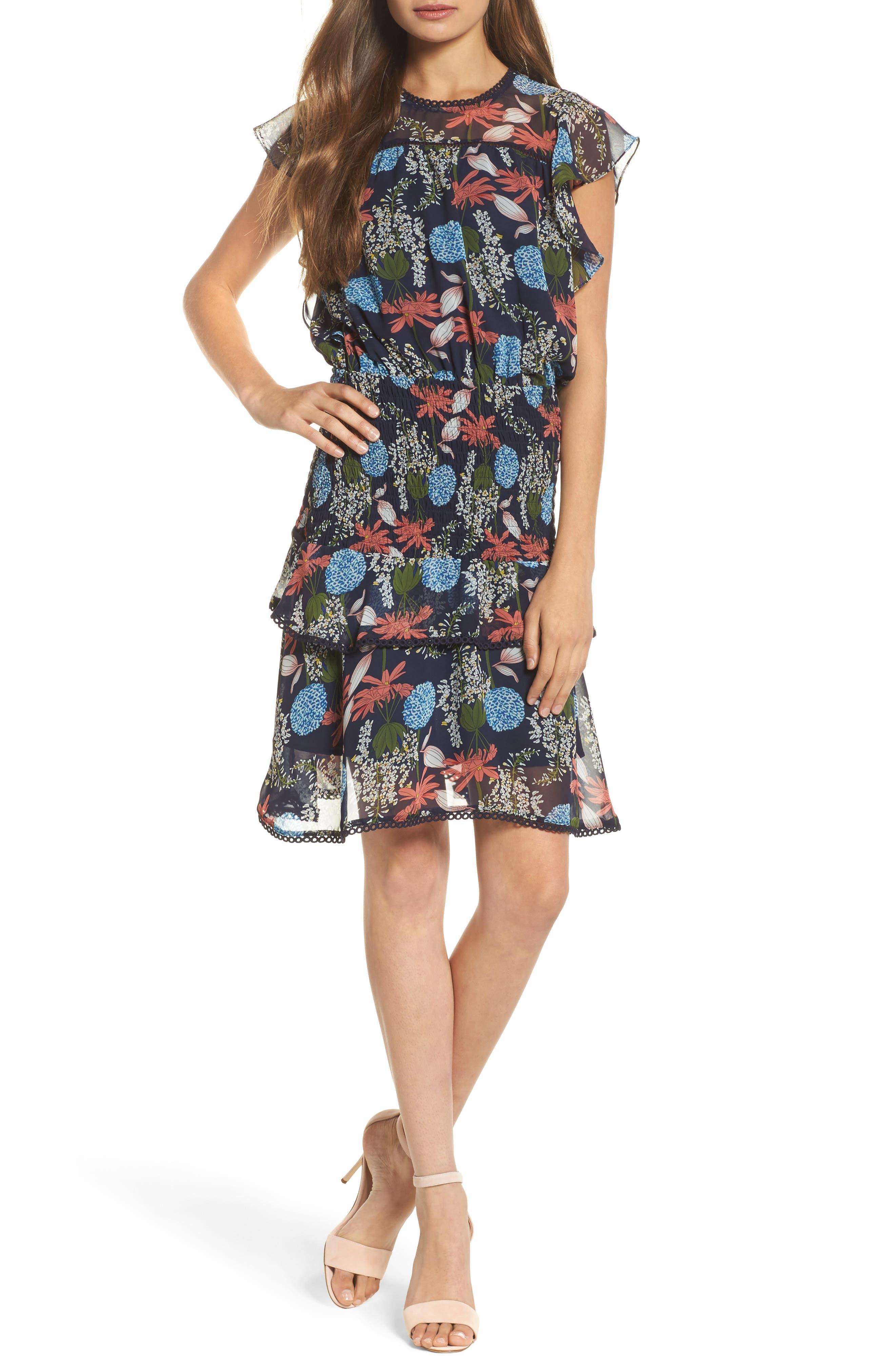 Tiered Blouson Dress,                             Main thumbnail 1, color,                             Navy Stella Floral