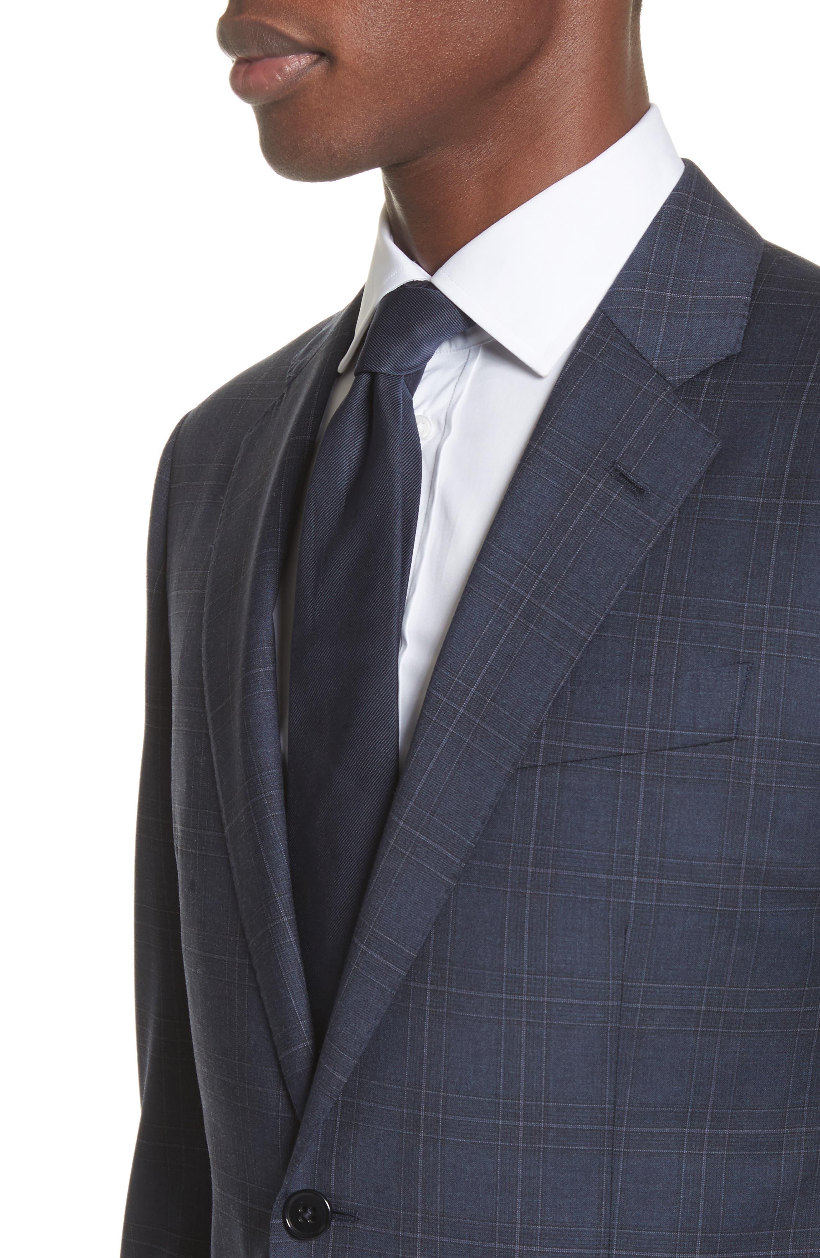 G Line Trim Fit Plaid Wool Suit,                             Alternate thumbnail 4, color,                             Navy