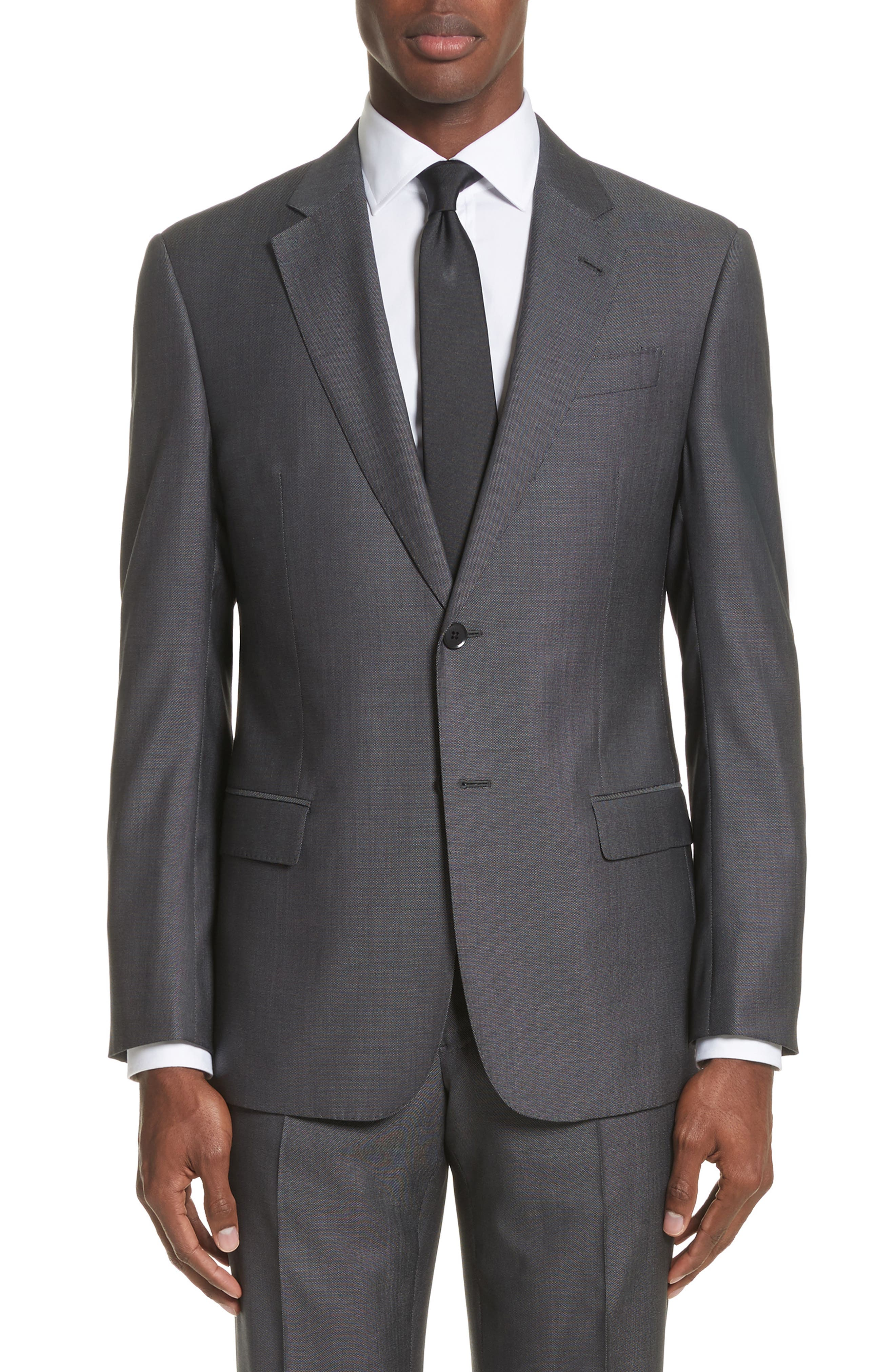 G Line Trim Fit Solid Wool & Silk Suit,                             Alternate thumbnail 5, color,                             Grey