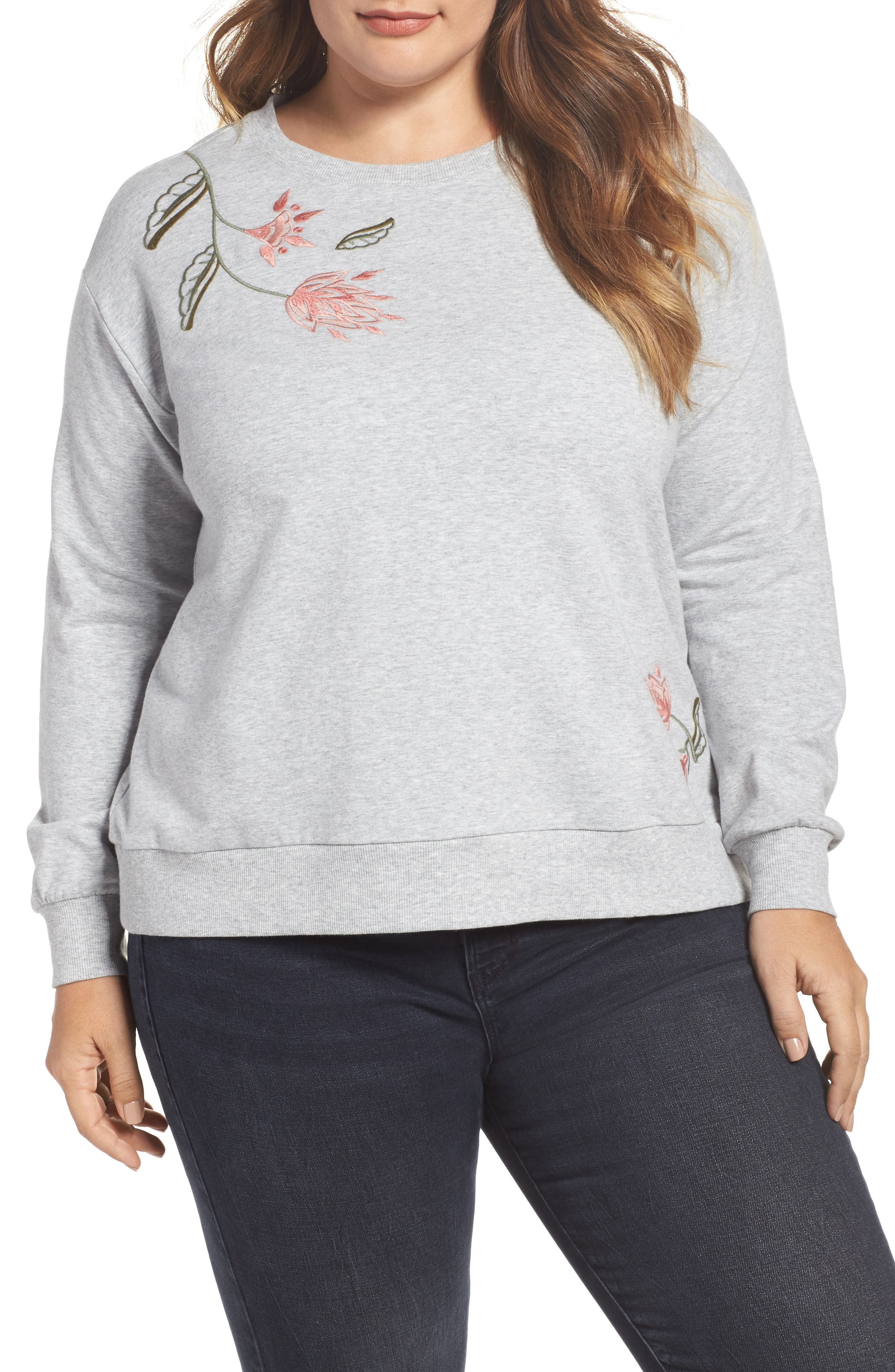 Main Image - Two by Vince Camuto Embroidered Sweatshirt (Plus Size)