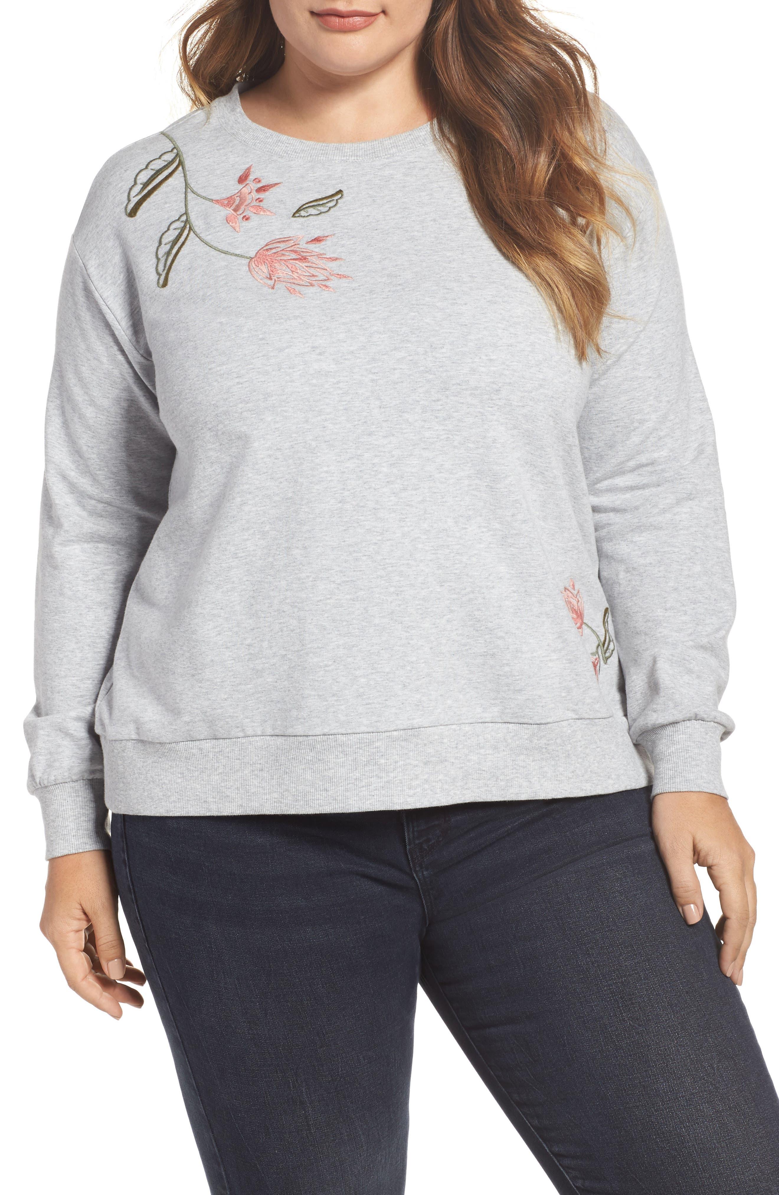Embroidered Sweatshirt,                         Main,                         color, Grey Heather
