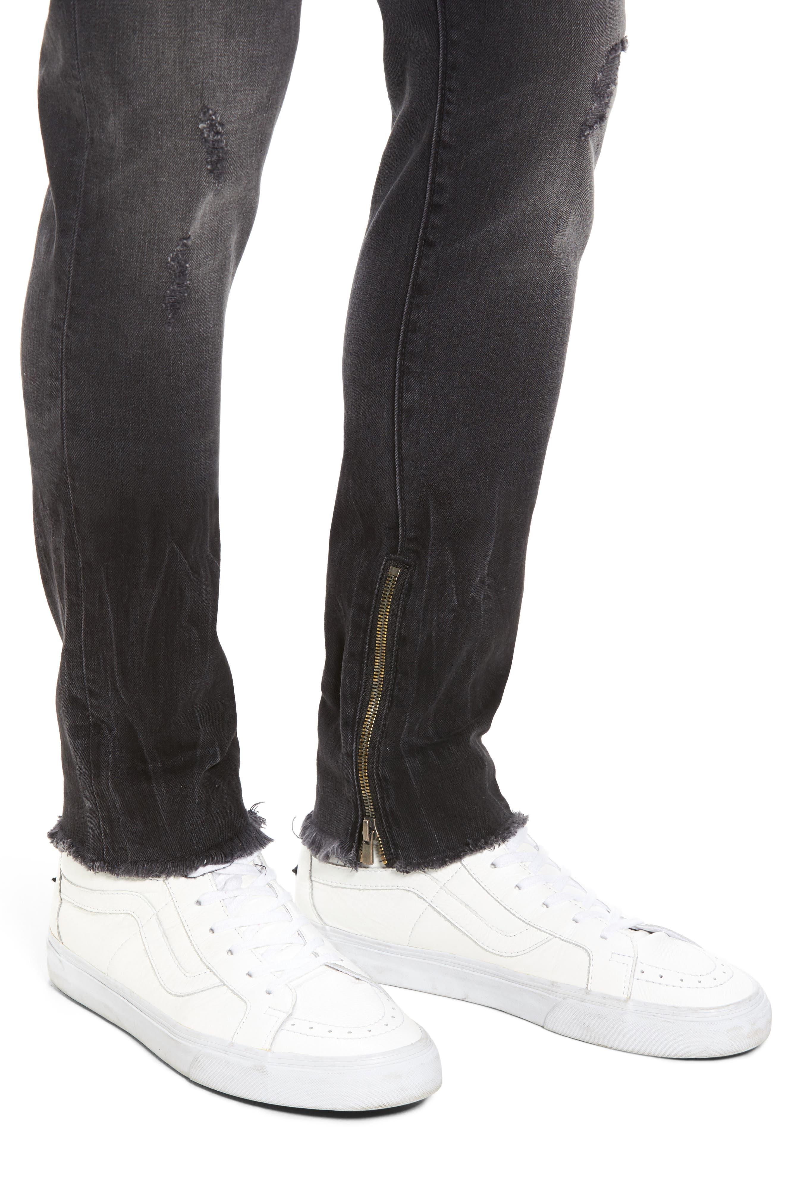 Alternate Image 4  - True Religion Brand Jeans Finn Frayed Skinny Fit Jeans (Dark Envy)