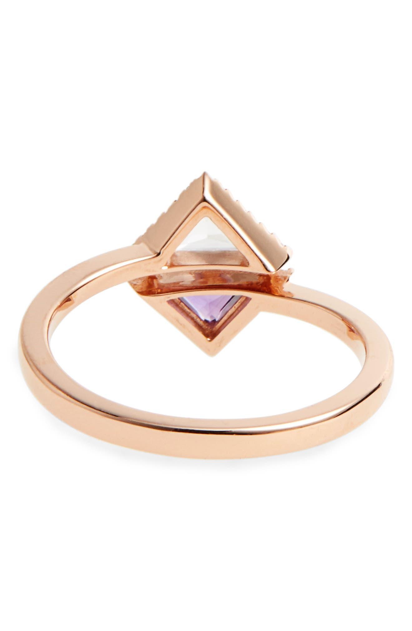 Iris Double Triangle Diamond & Semiprecious Stone Ring,                             Alternate thumbnail 4, color,                             White Topaz/ Amethyst