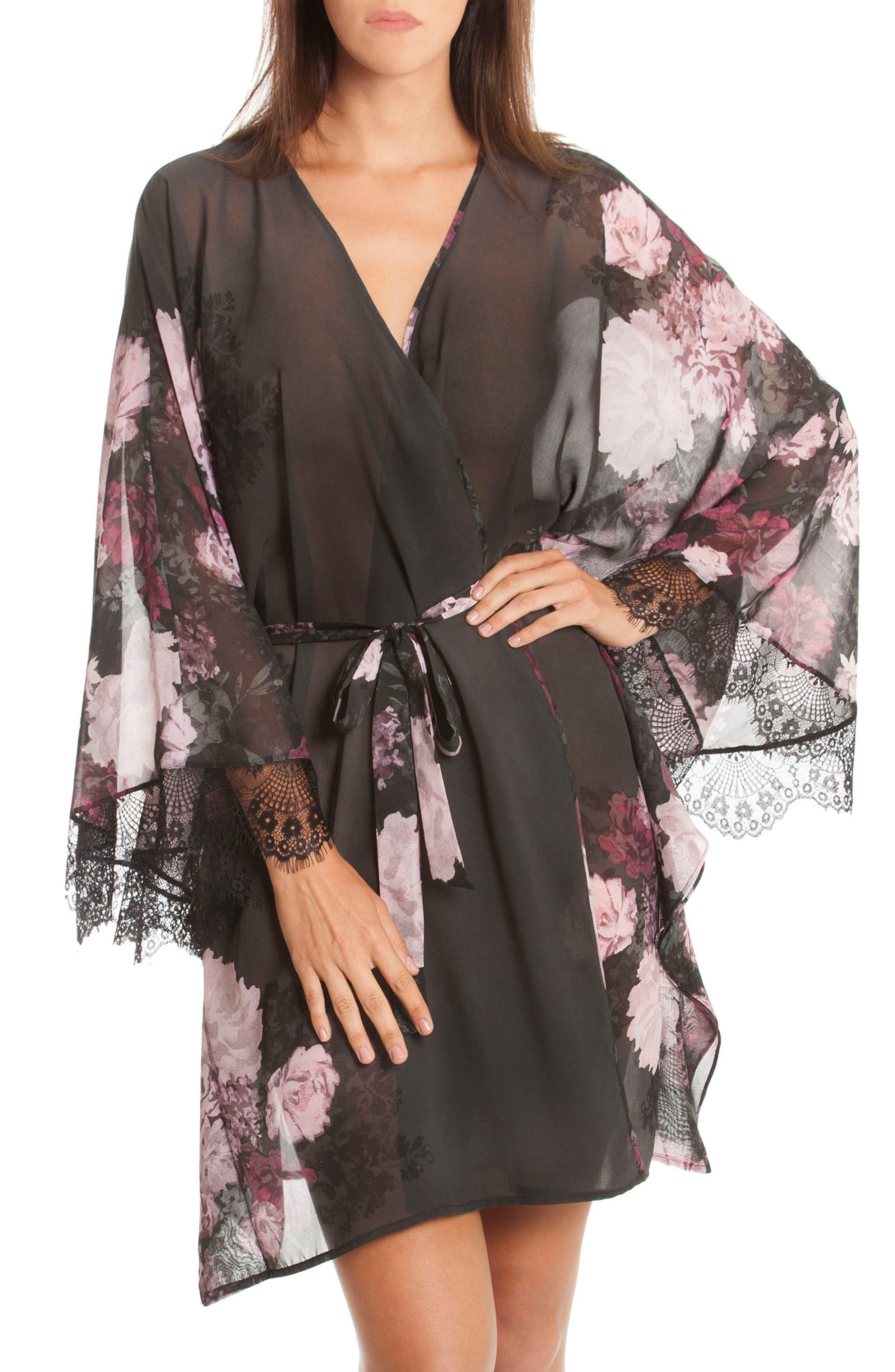 Main Image - Midnight Bakery Flower Print Kimono Robe