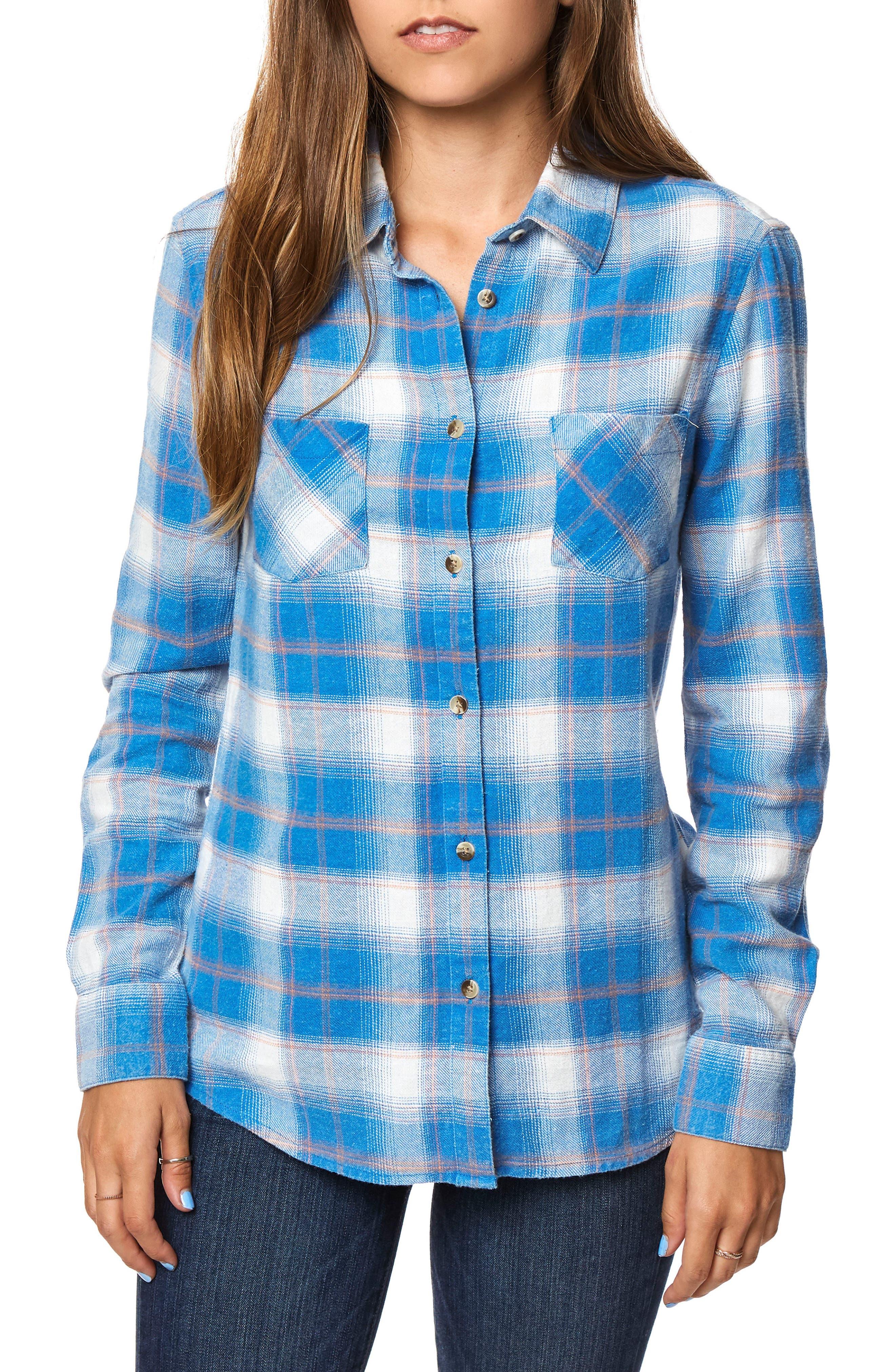 Birdie Plaid Flannel Shirt,                         Main,                         color, True Blue