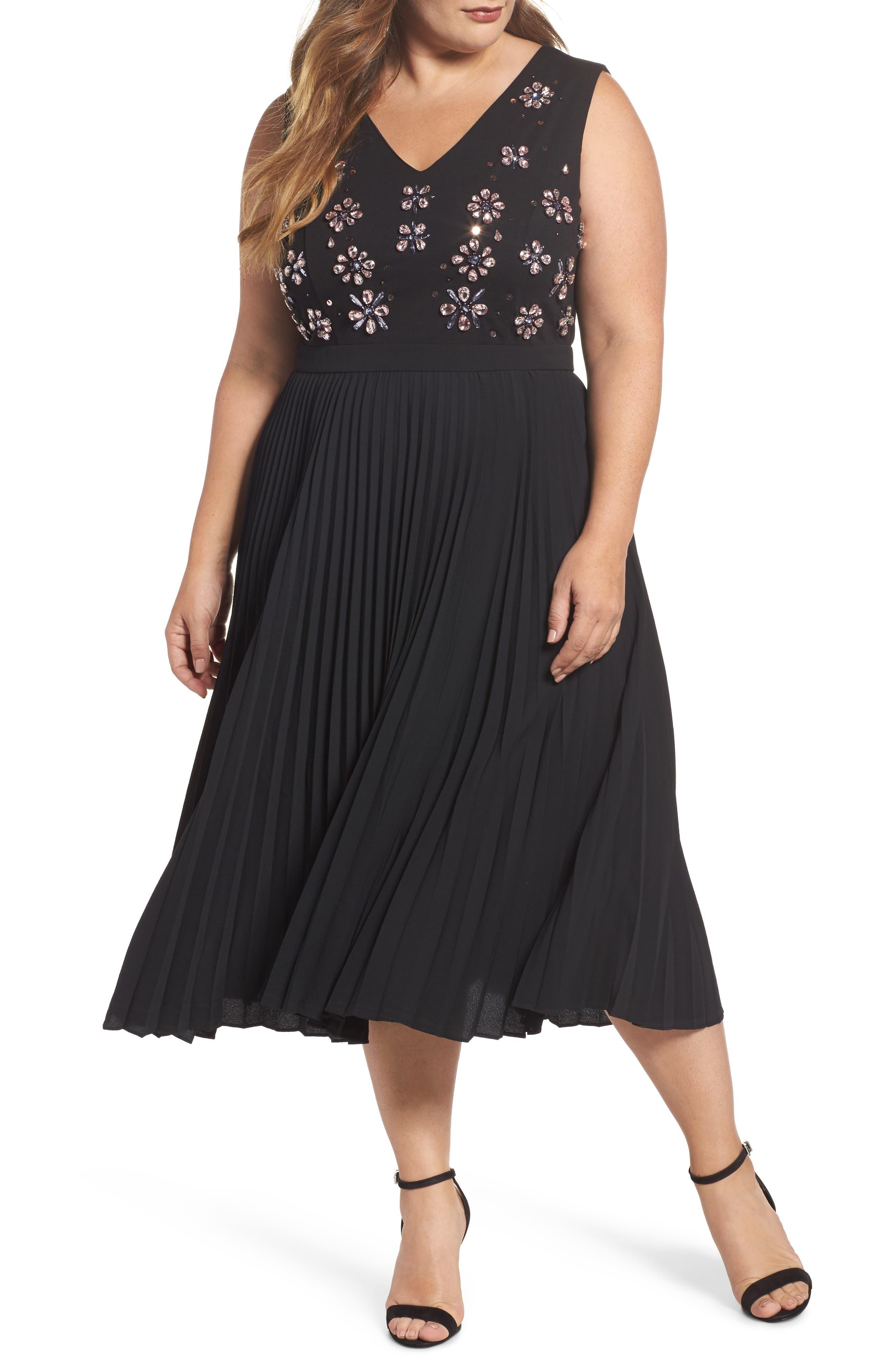 Crystal Flower Embellished Dress,                             Main thumbnail 1, color,                             Black