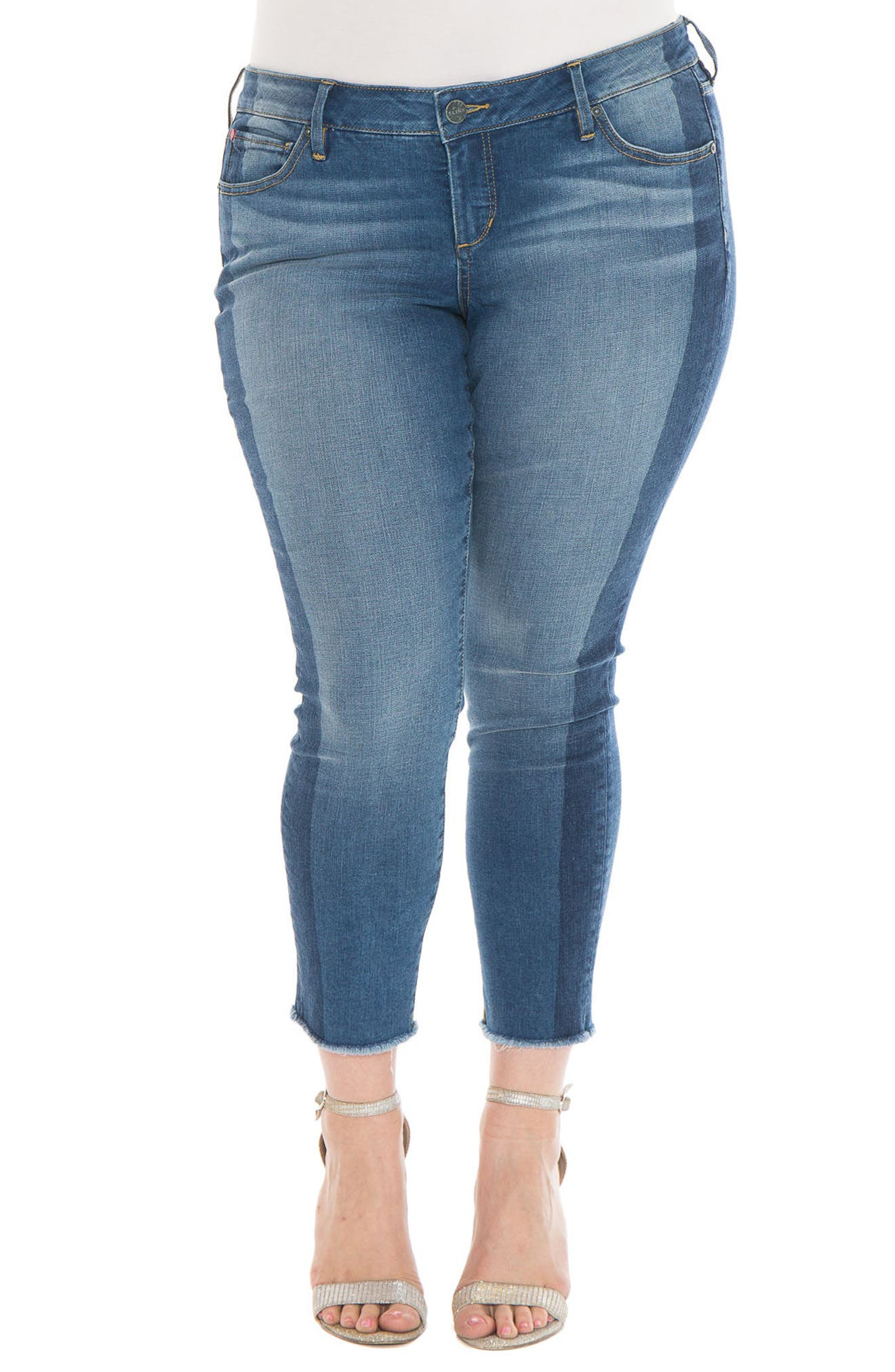 SLINK Jeans Shadow Mix Frayed Ankle Jeans (Plus Size)