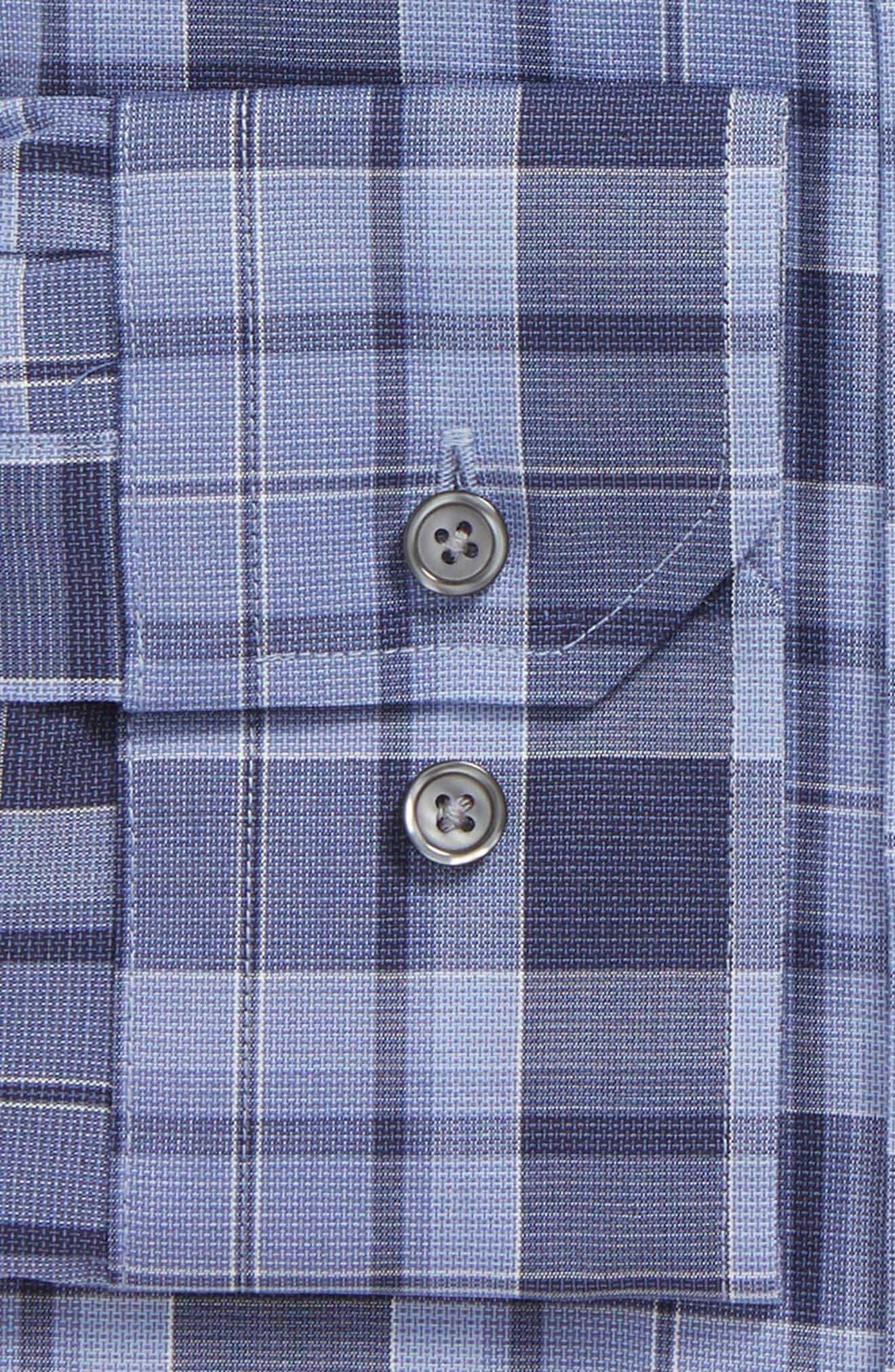 Trim Fit Stretch No-Iron Check Dress Shirt,                             Alternate thumbnail 2, color,                             Blue Coronet