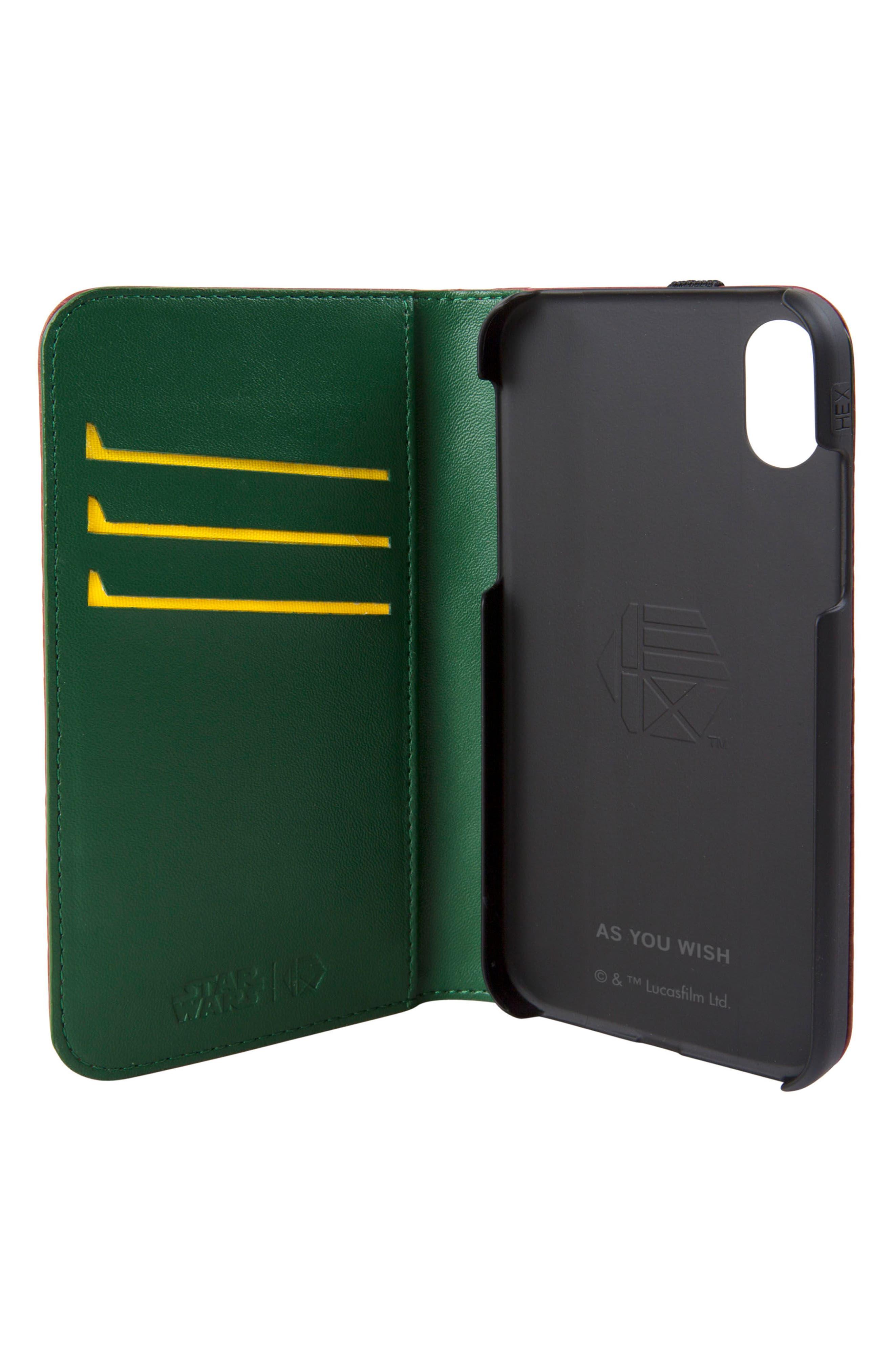 Boba Fett iPhone X Wallet Case,                             Alternate thumbnail 2, color,                             Burgundy