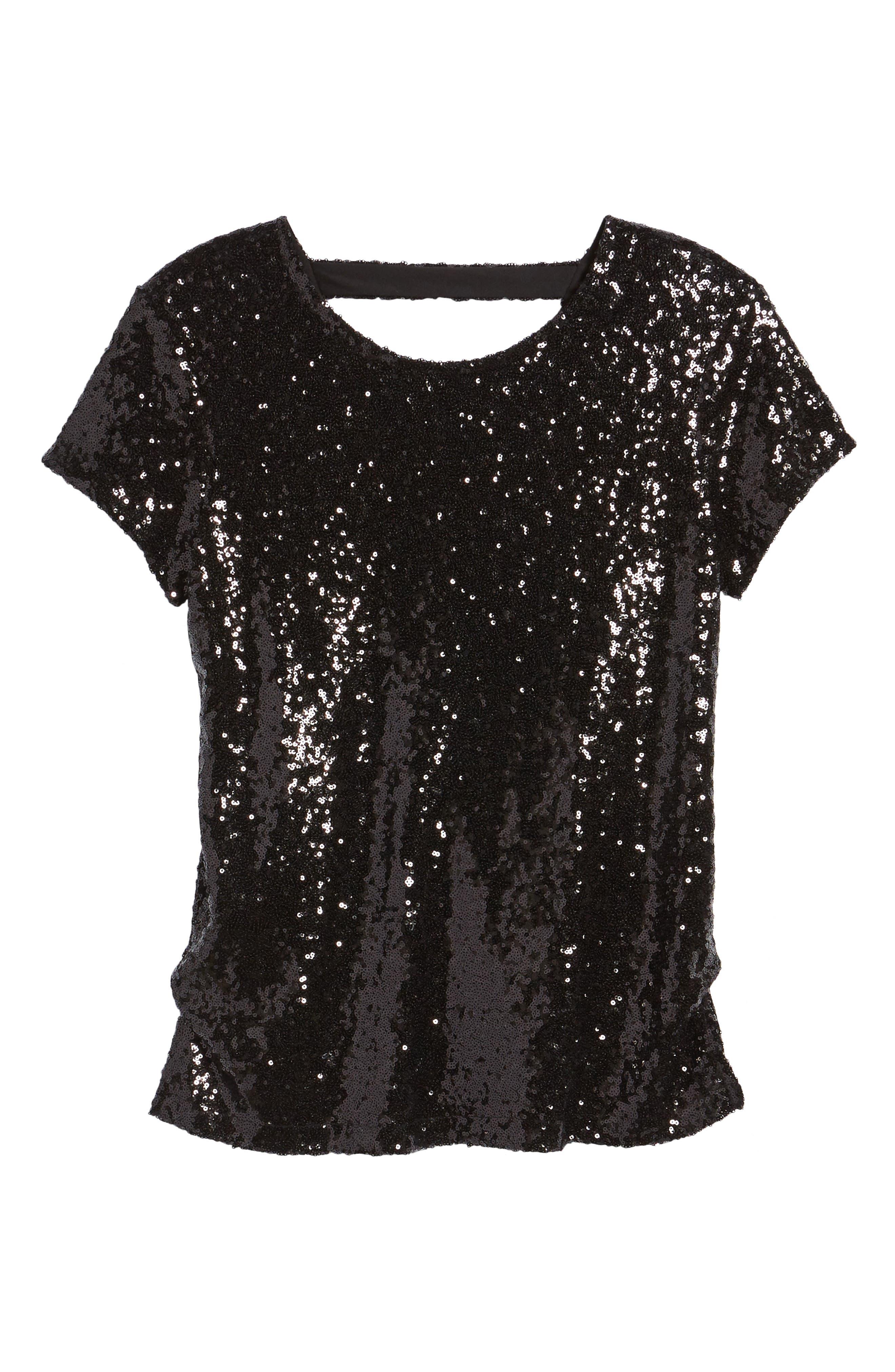 V-Back Sequin Top,                             Alternate thumbnail 6, color,                             Black