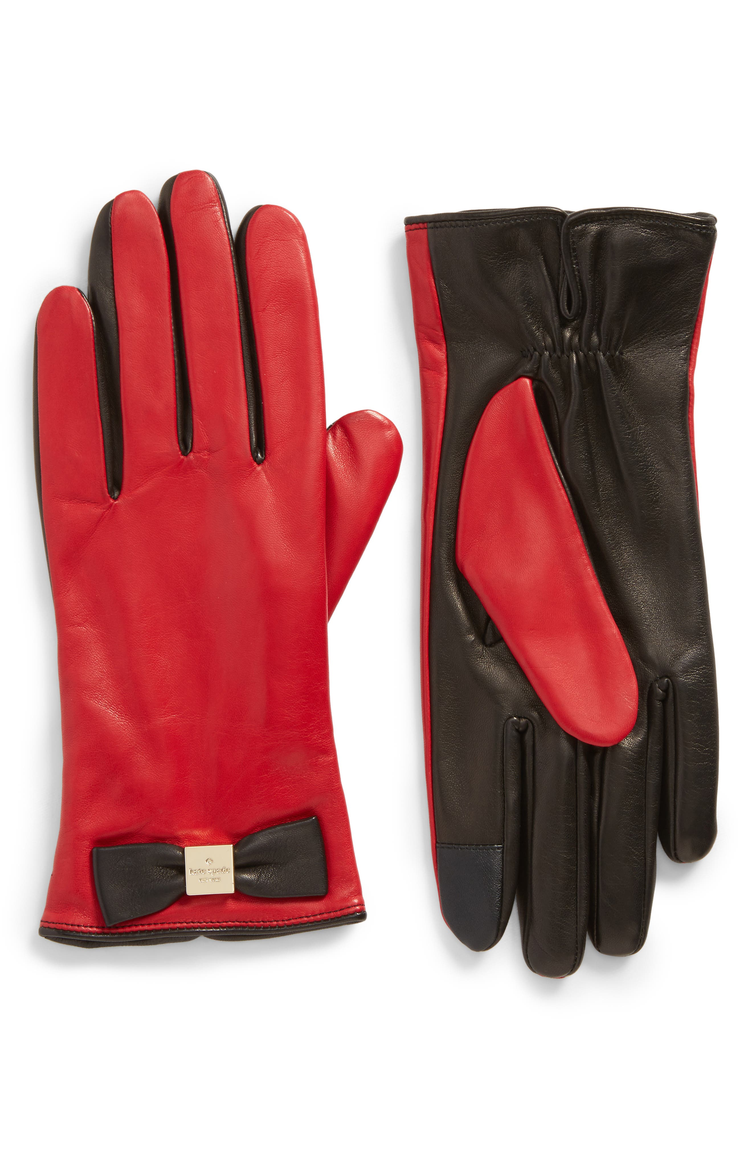 kate spade new york 'bow logo' gloves,                             Main thumbnail 1, color,                             Charm Red/Black