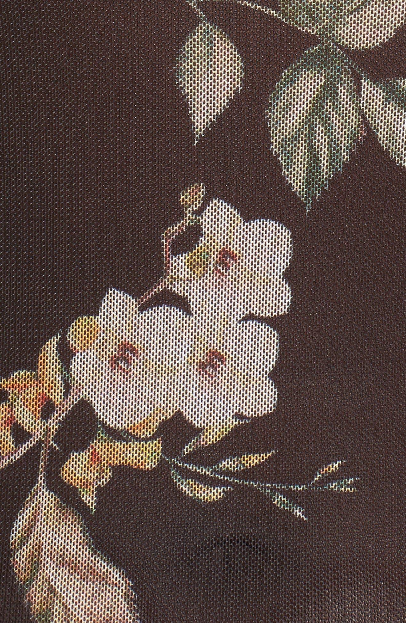 Esme Ruffle Mesh Bodysuit,                             Alternate thumbnail 5, color,                             Noir Floral