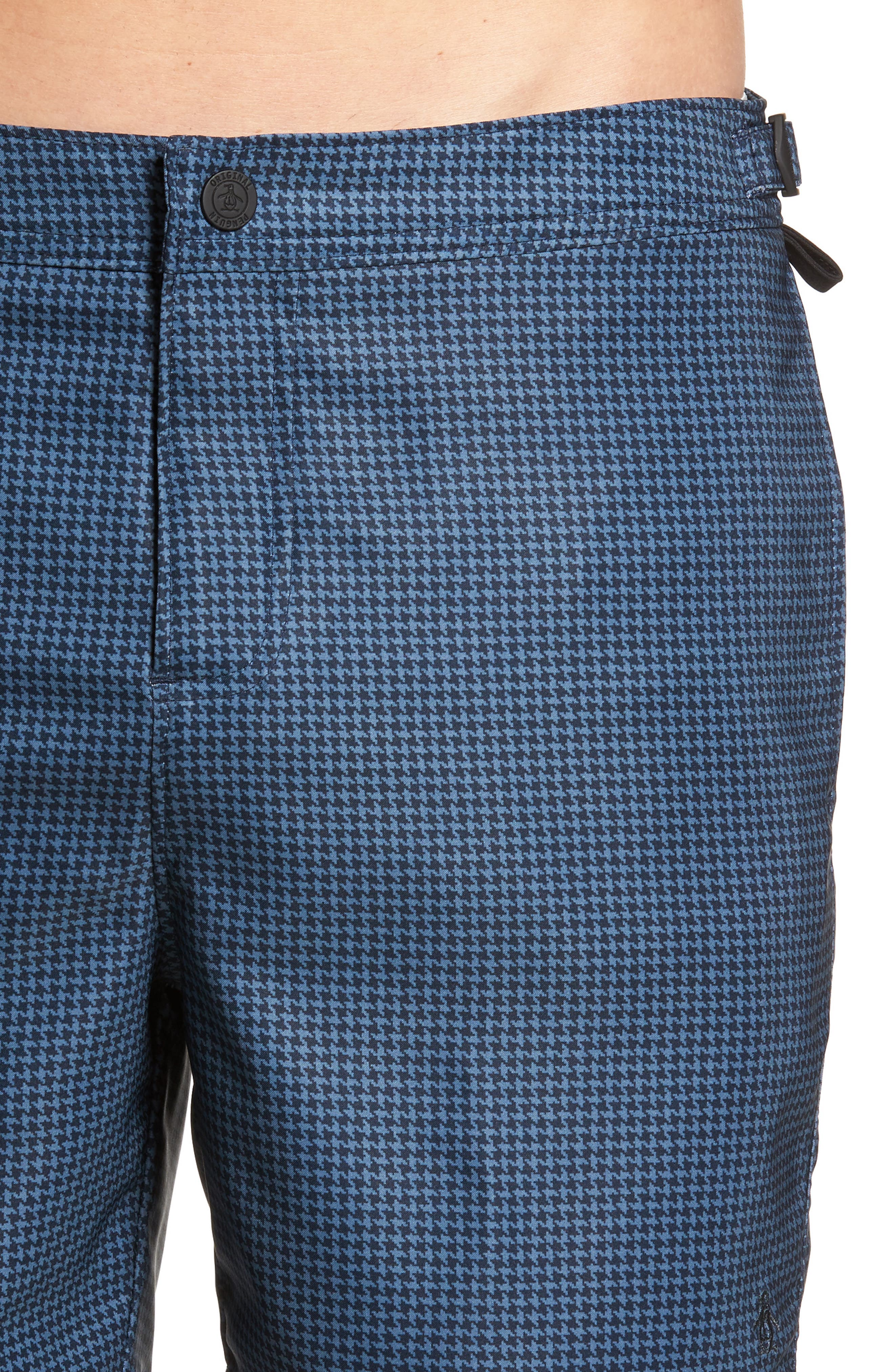 Houndstooth Stretch Volley Board Shorts,                             Alternate thumbnail 4, color,                             Dark Sapphire