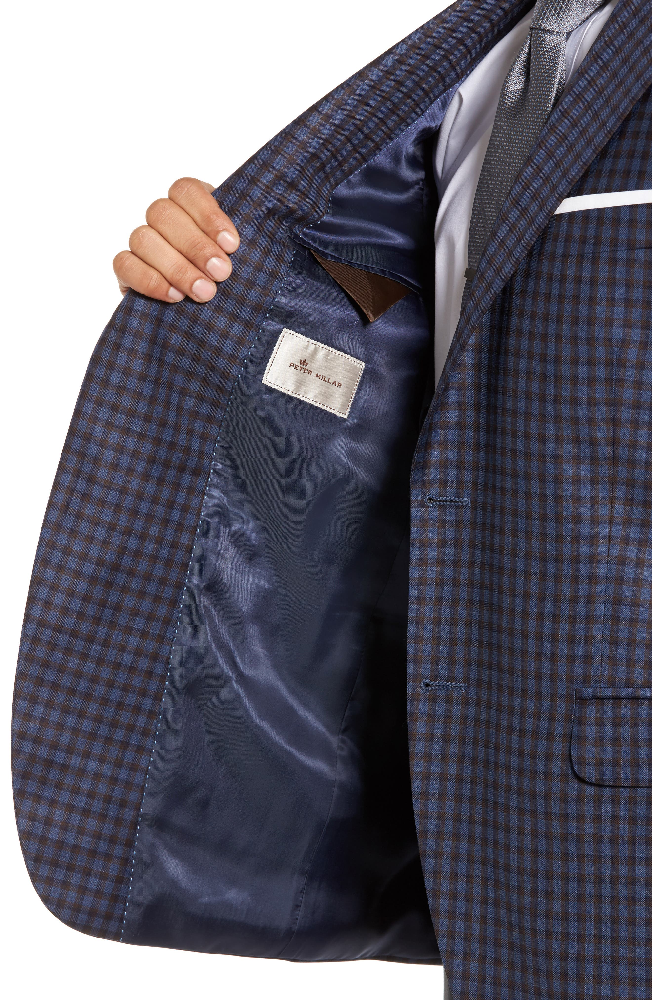 Classic Fit Check Wool Sport Coat,                             Alternate thumbnail 4, color,                             Blue