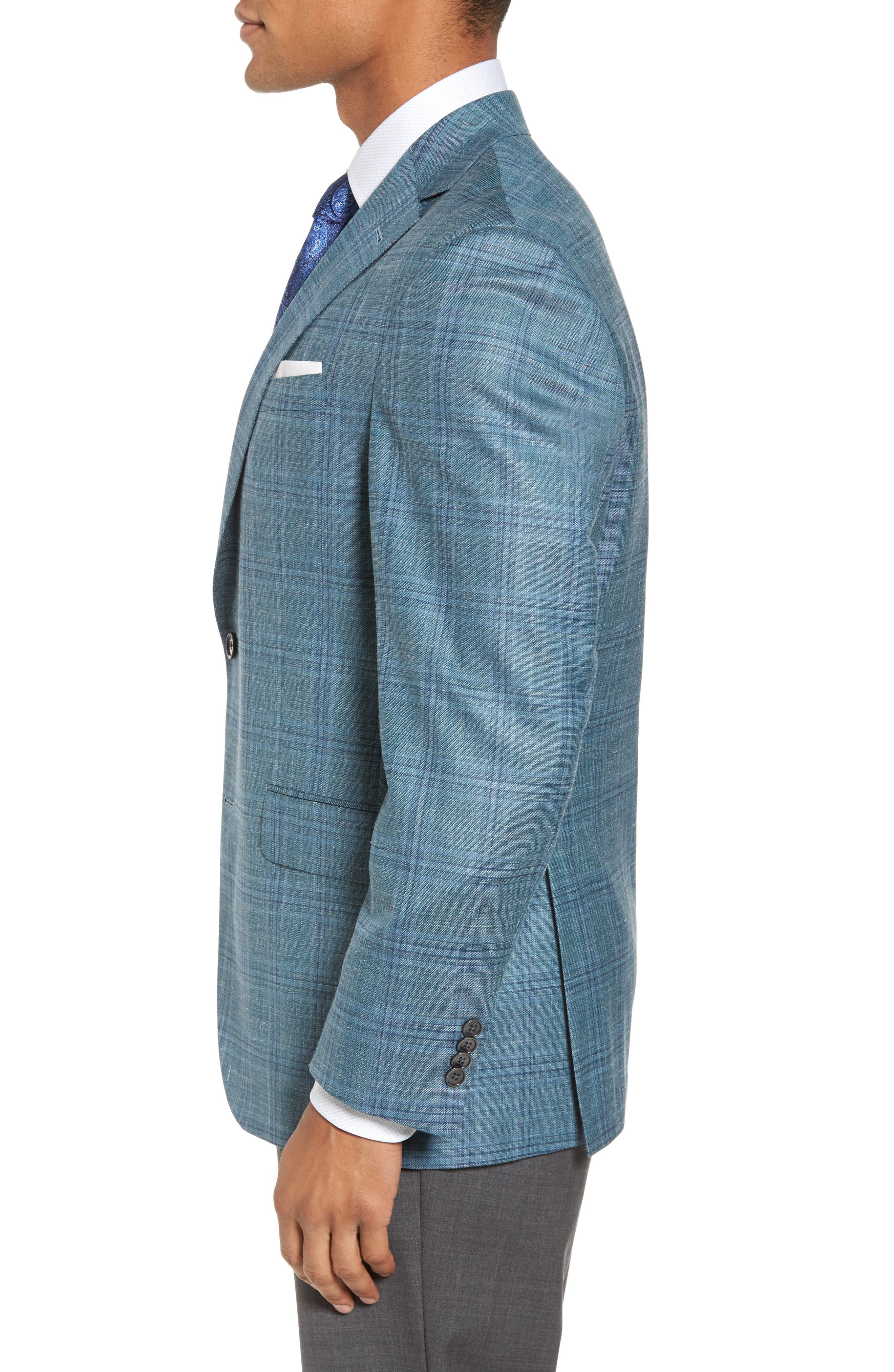 Ashton Classic Fit Stretch Plaid Wool Blend Sport Coat,                             Alternate thumbnail 3, color,                             Green