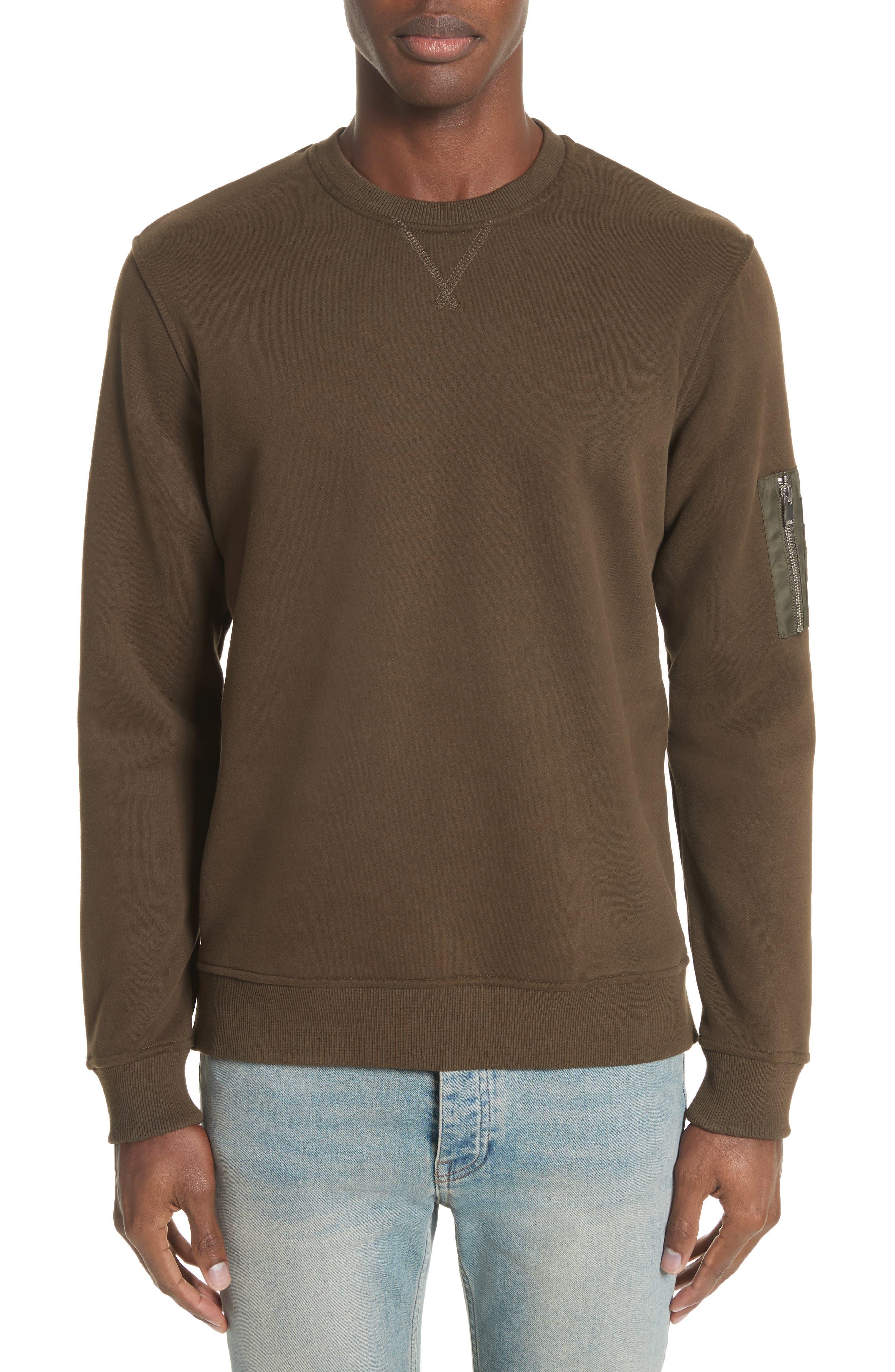Crewneck Cotton Sweater,                         Main,                         color, Khaki