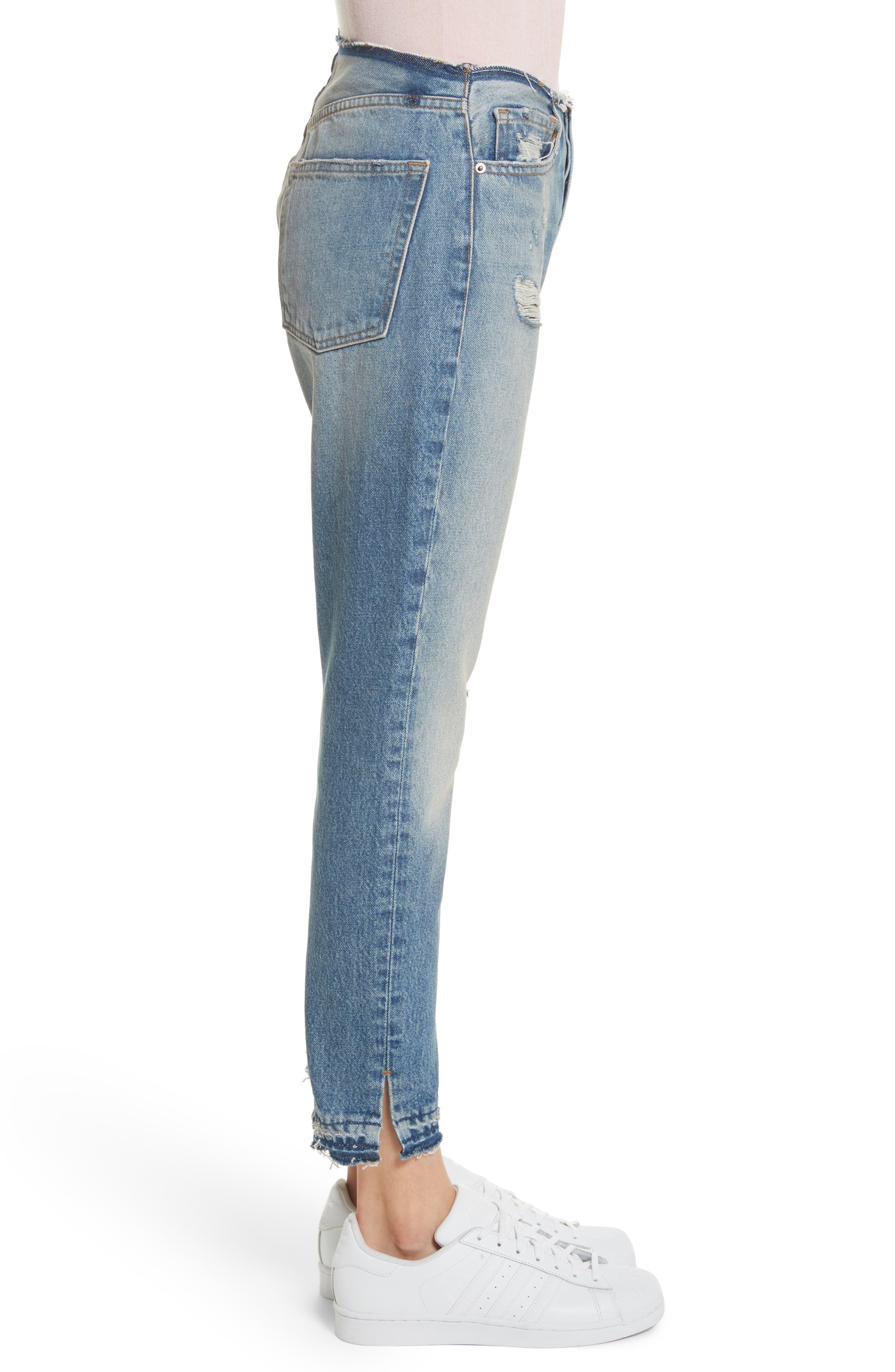 Re-Release Le Original Raw Edge High Waist Jeans,                             Alternate thumbnail 3, color,                             Horne