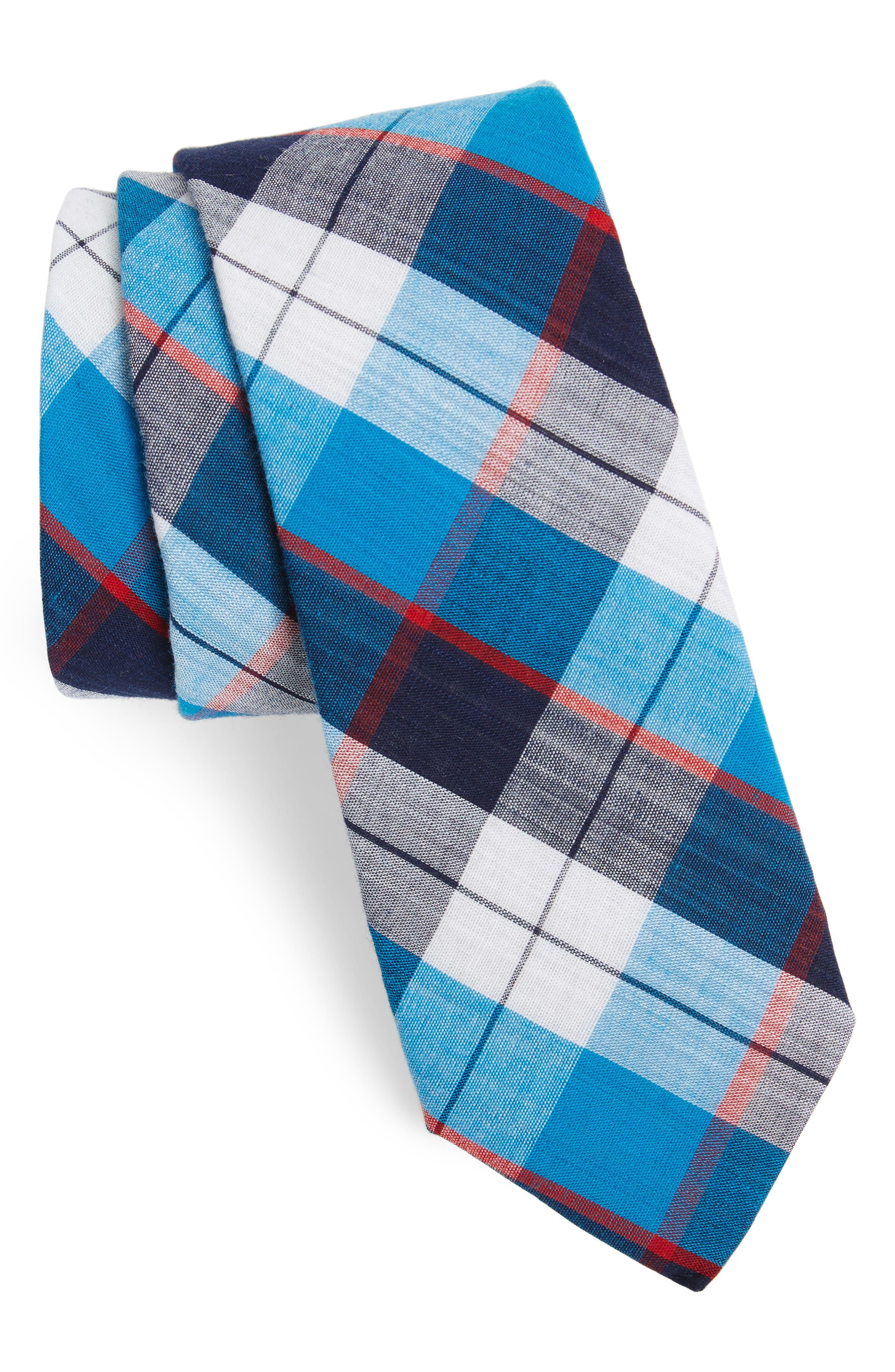 Esterbrook Plaid Cotton Skinny Tie,                             Main thumbnail 1, color,                             Navy
