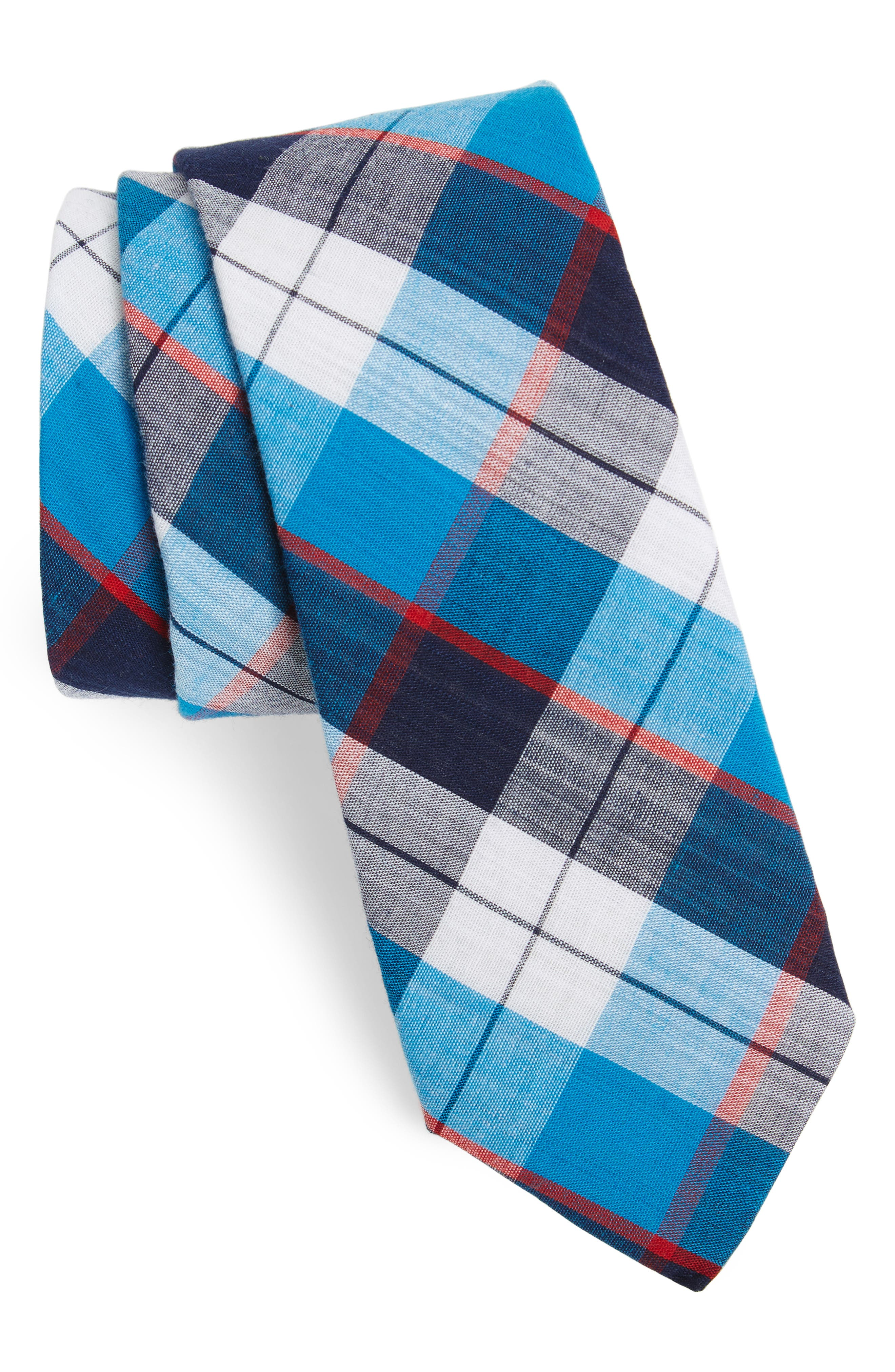 Esterbrook Plaid Cotton Skinny Tie,                         Main,                         color, Navy