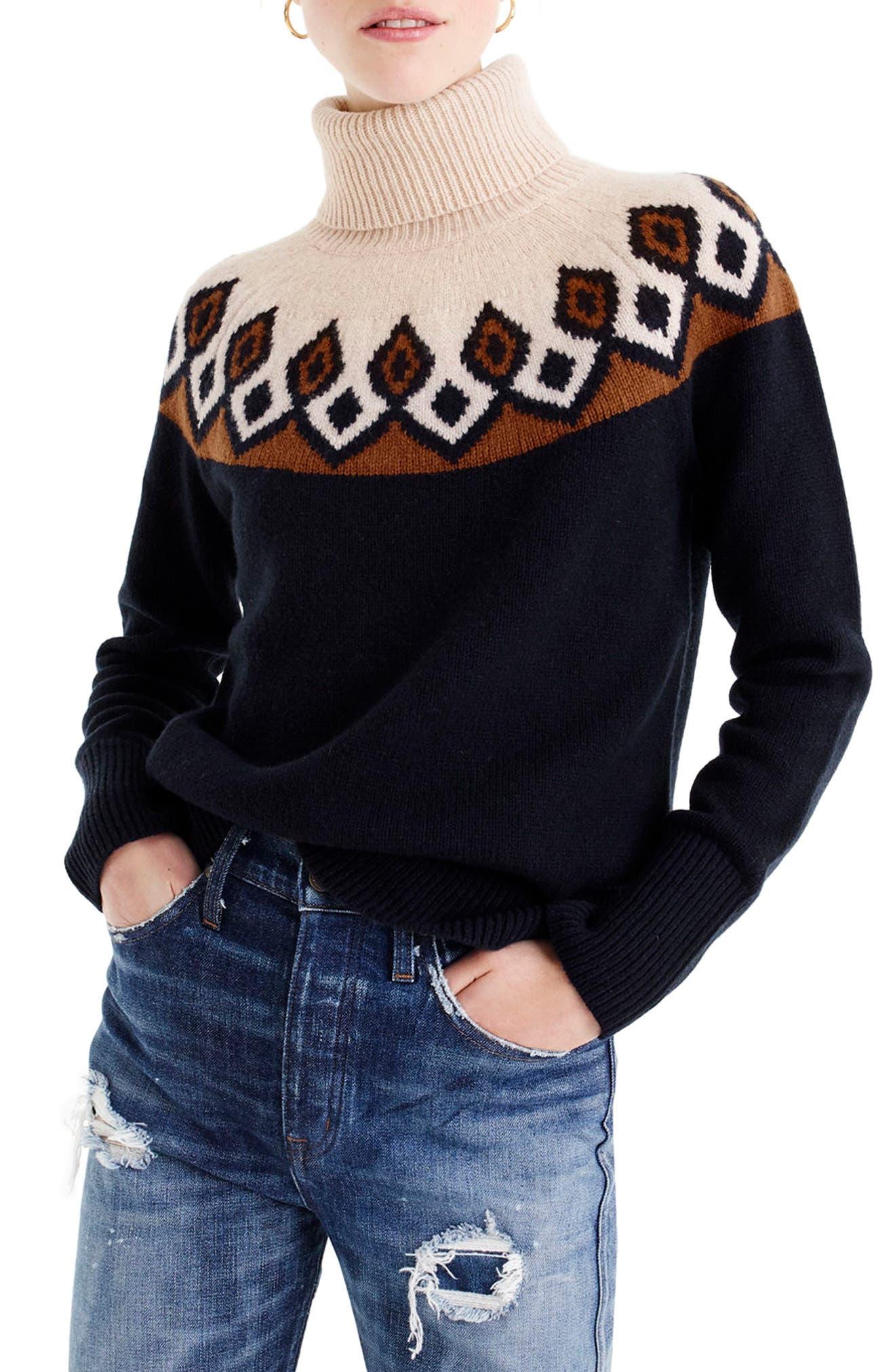 Ambrose Fair Isle Merino Wool Sweater,                             Main thumbnail 1, color,                             Navy/ Peach