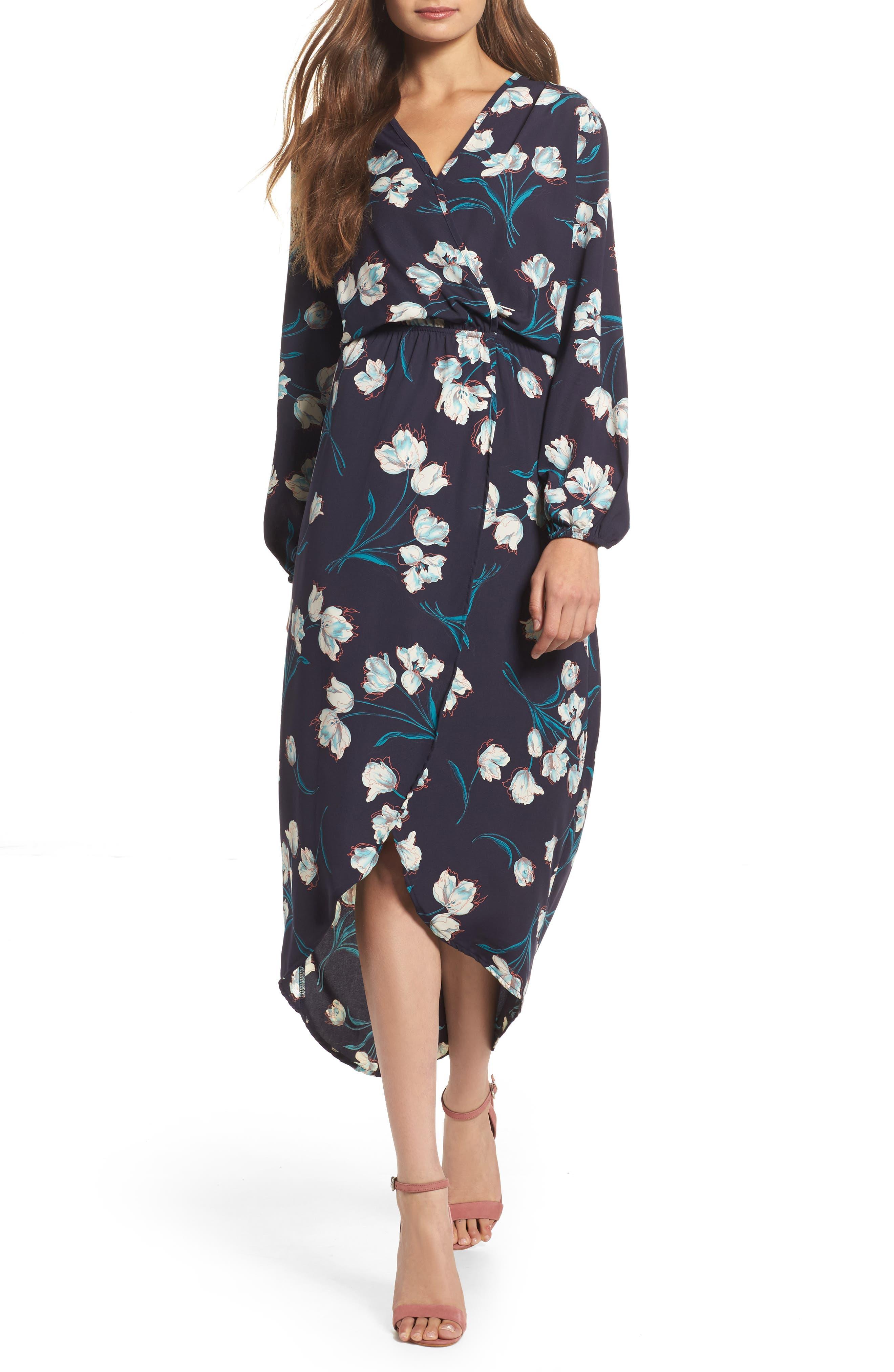 Wrap High/Low Hem,                         Main,                         color, Tulip Navy