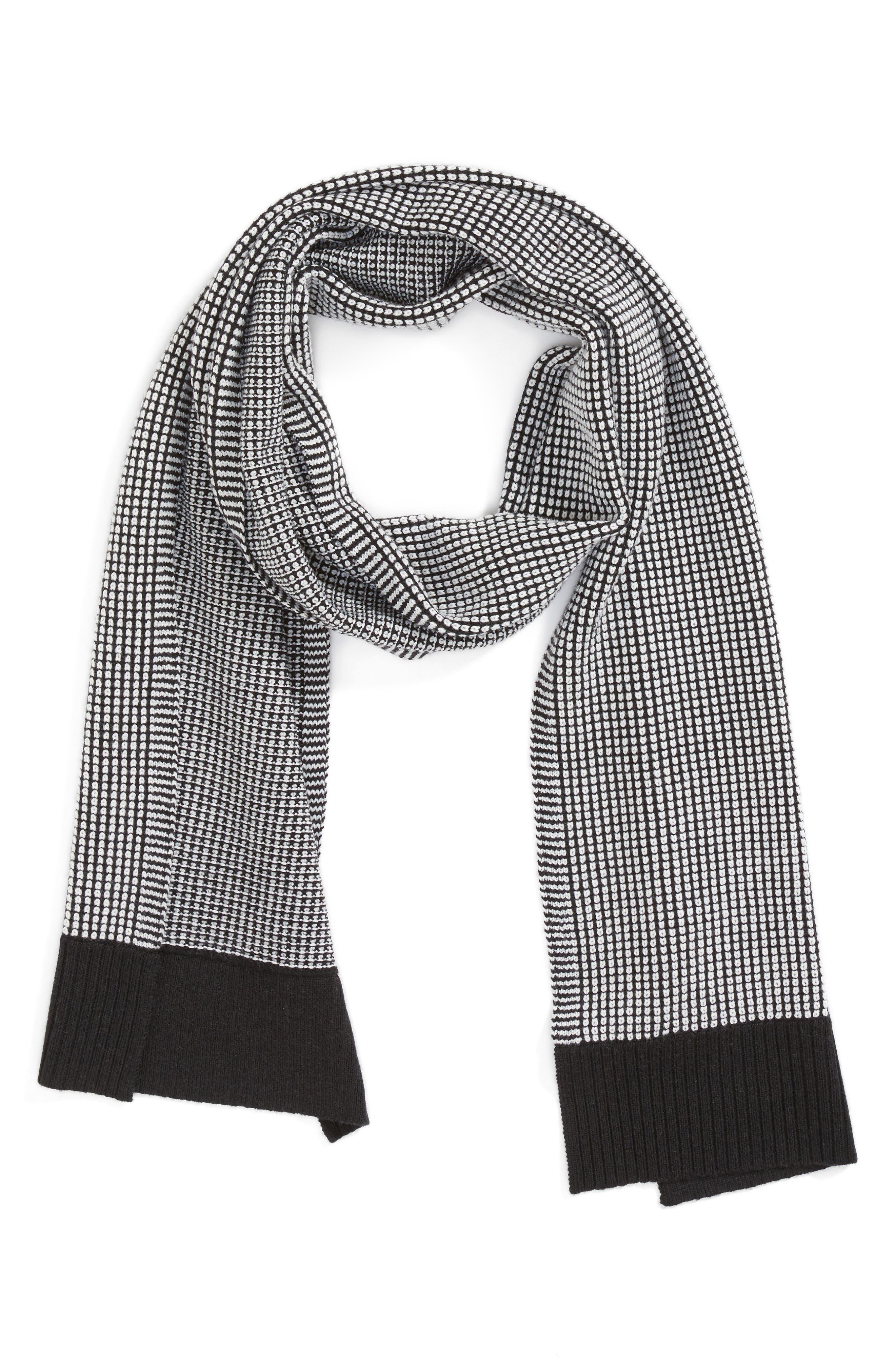 Merino Wool Scarf,                             Alternate thumbnail 3, color,                             Black/ Soft White