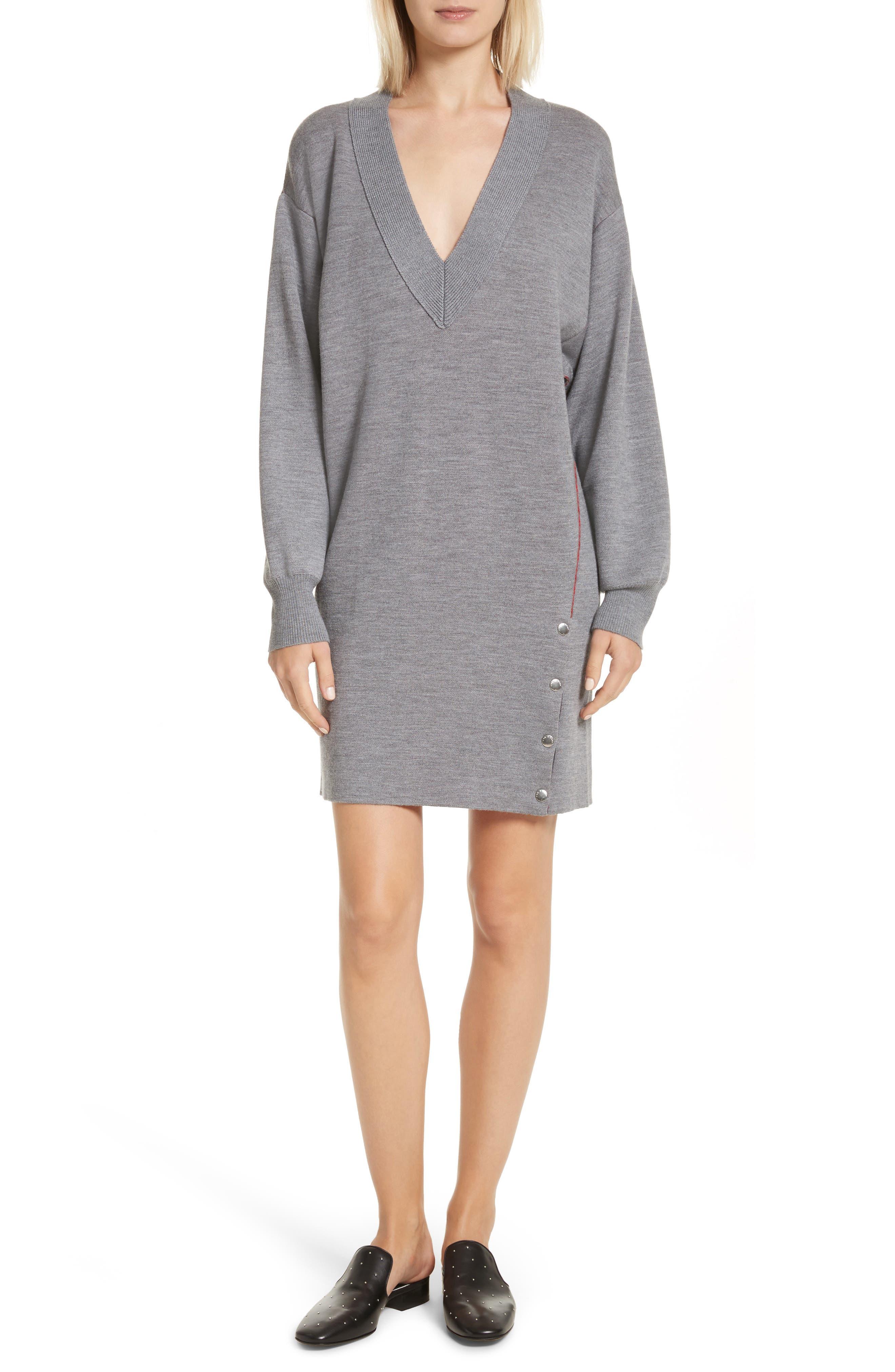 Saralyn Merino Wool Blend Sweater Dress,                         Main,                         color, Grey