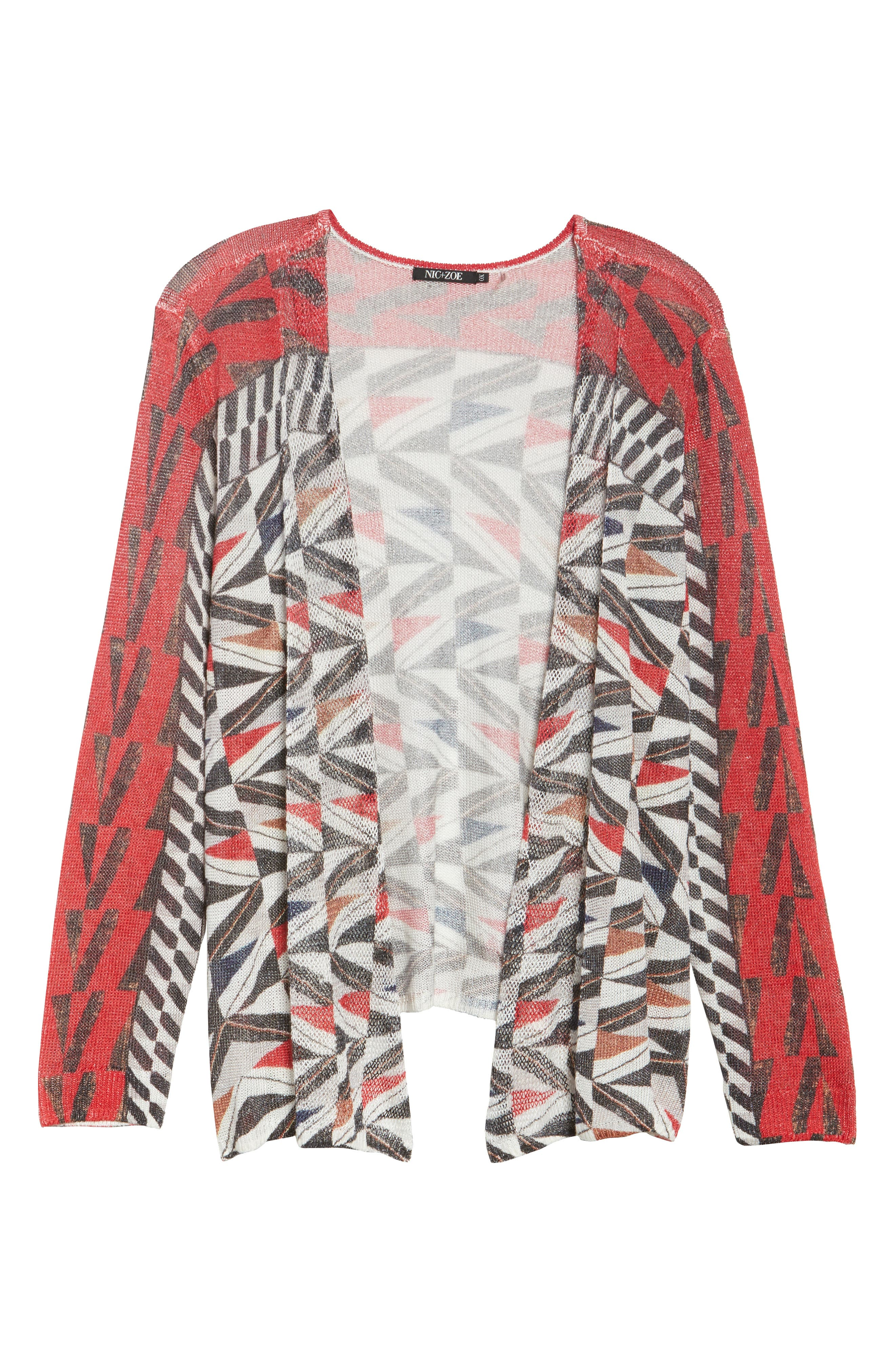 Zigzag Open Front Cardigan,                             Alternate thumbnail 6, color,                             Multi