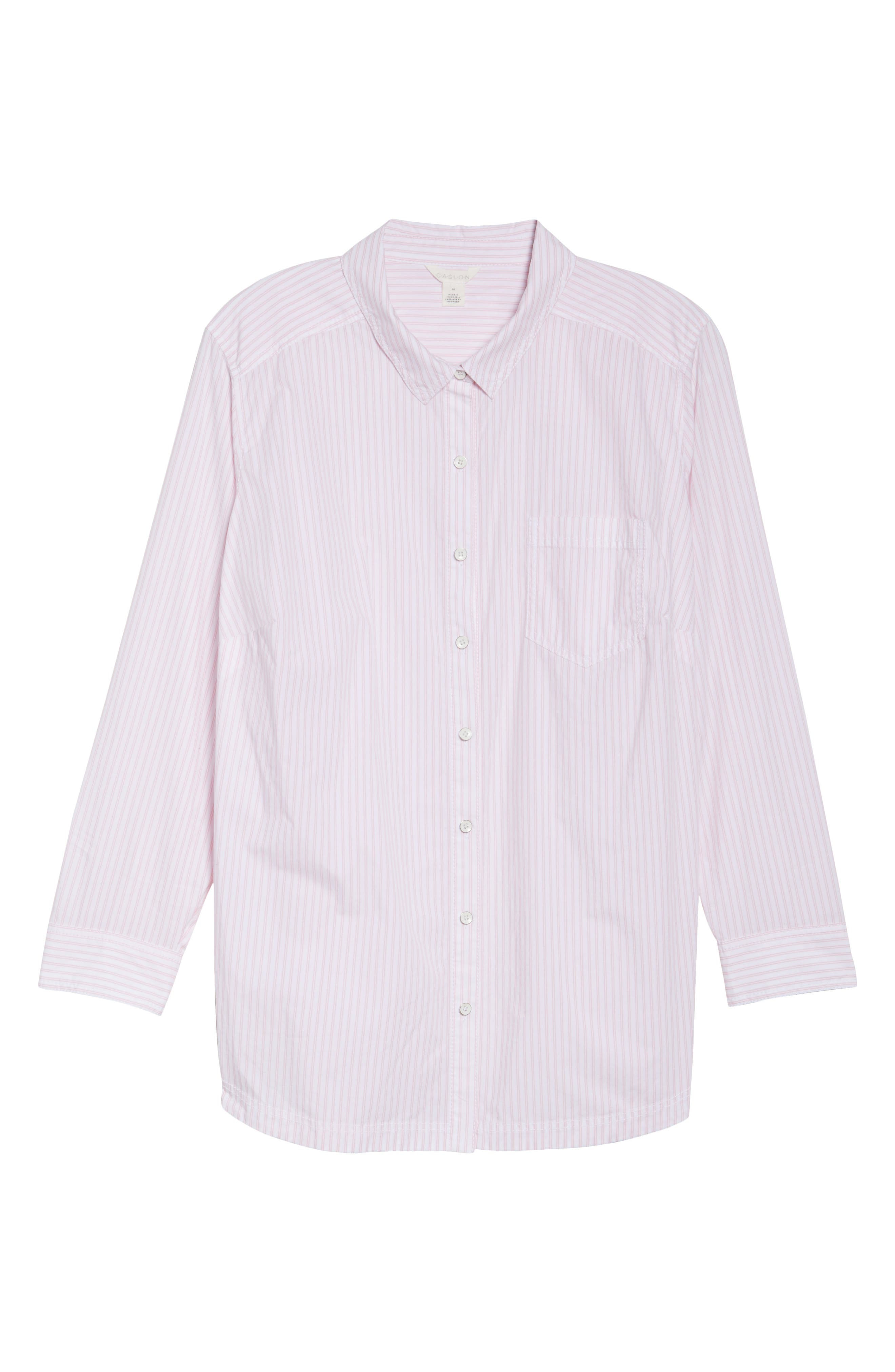 Alternate Image 6  - Caslon® Stripe Button Front Shirt (Plus Size)