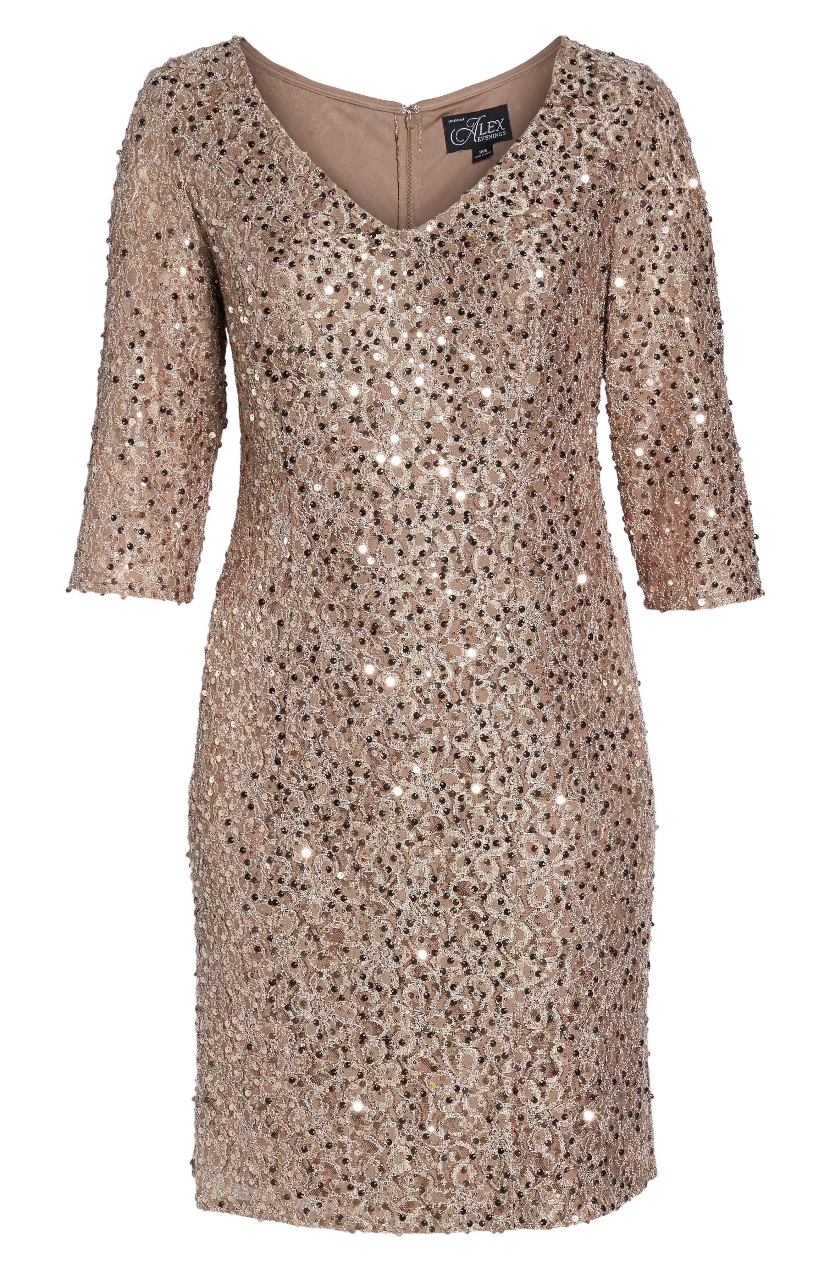 Sequin Shift Dress,                             Alternate thumbnail 6, color,                             Taupe