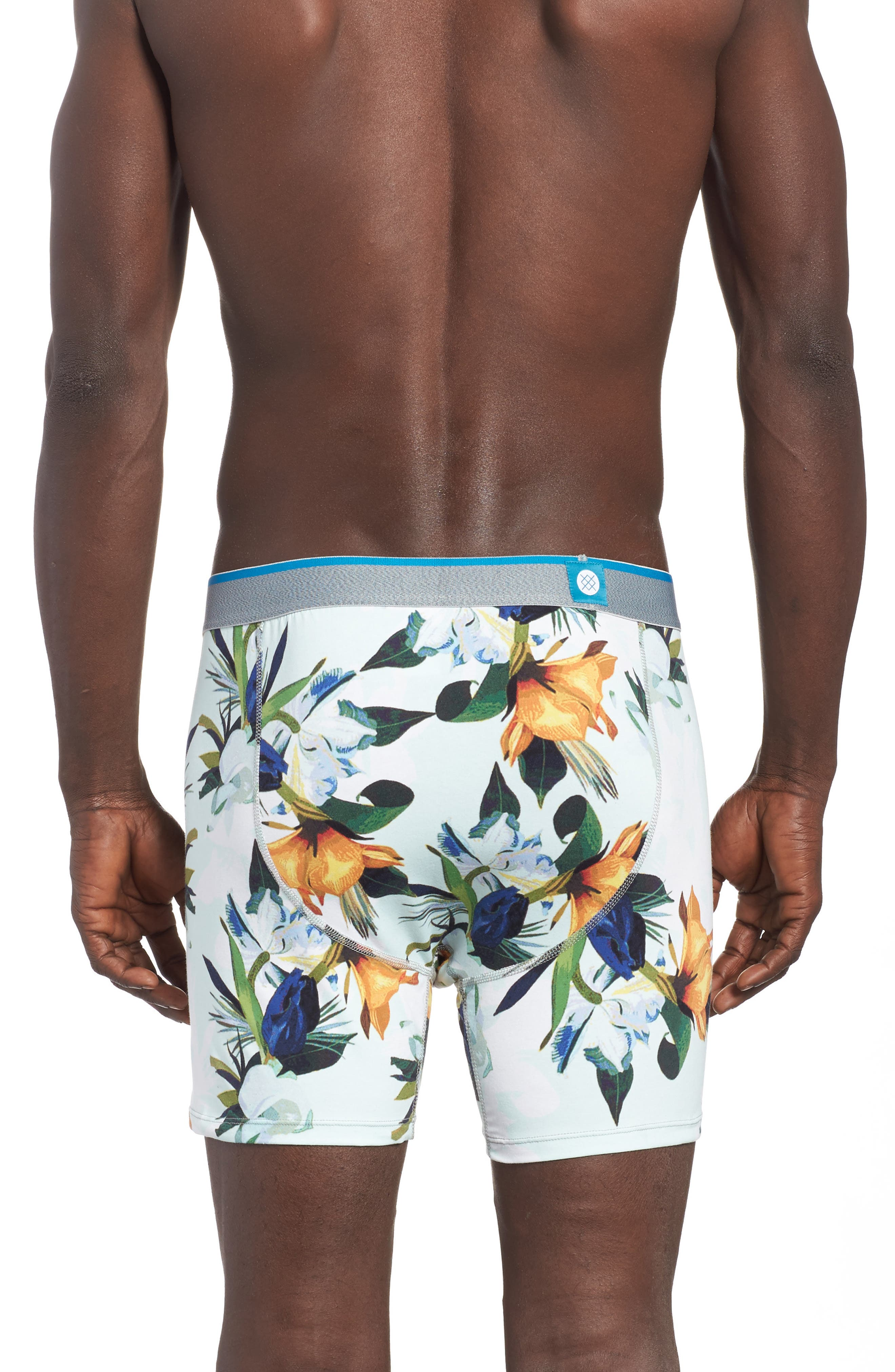 Aqua Floral Boxer Briefs,                             Alternate thumbnail 2, color,                             Medium Blue