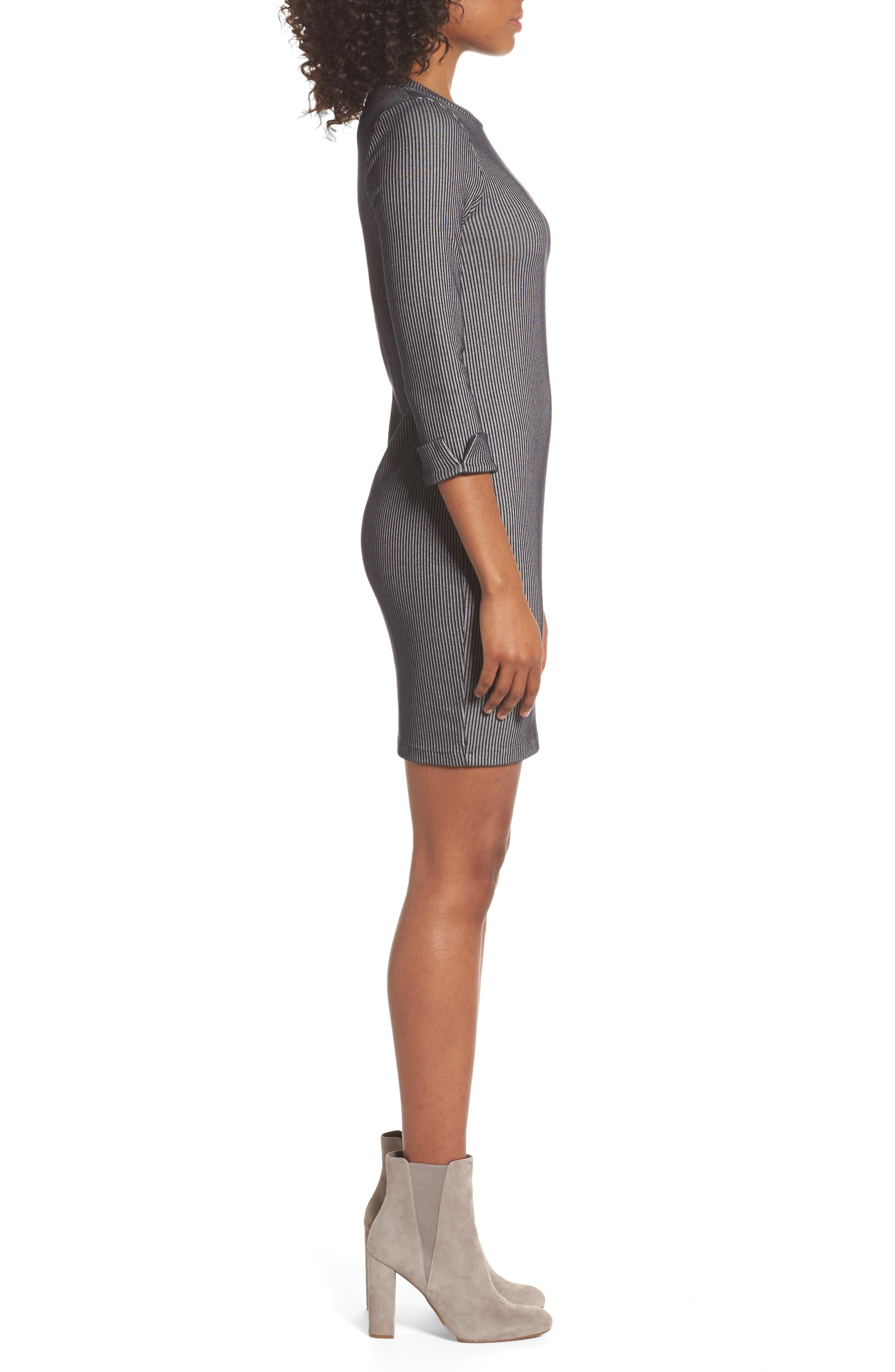 Rosario Jersey Body-Con Dress,                             Alternate thumbnail 3, color,                             Utility Blue/ Linen White