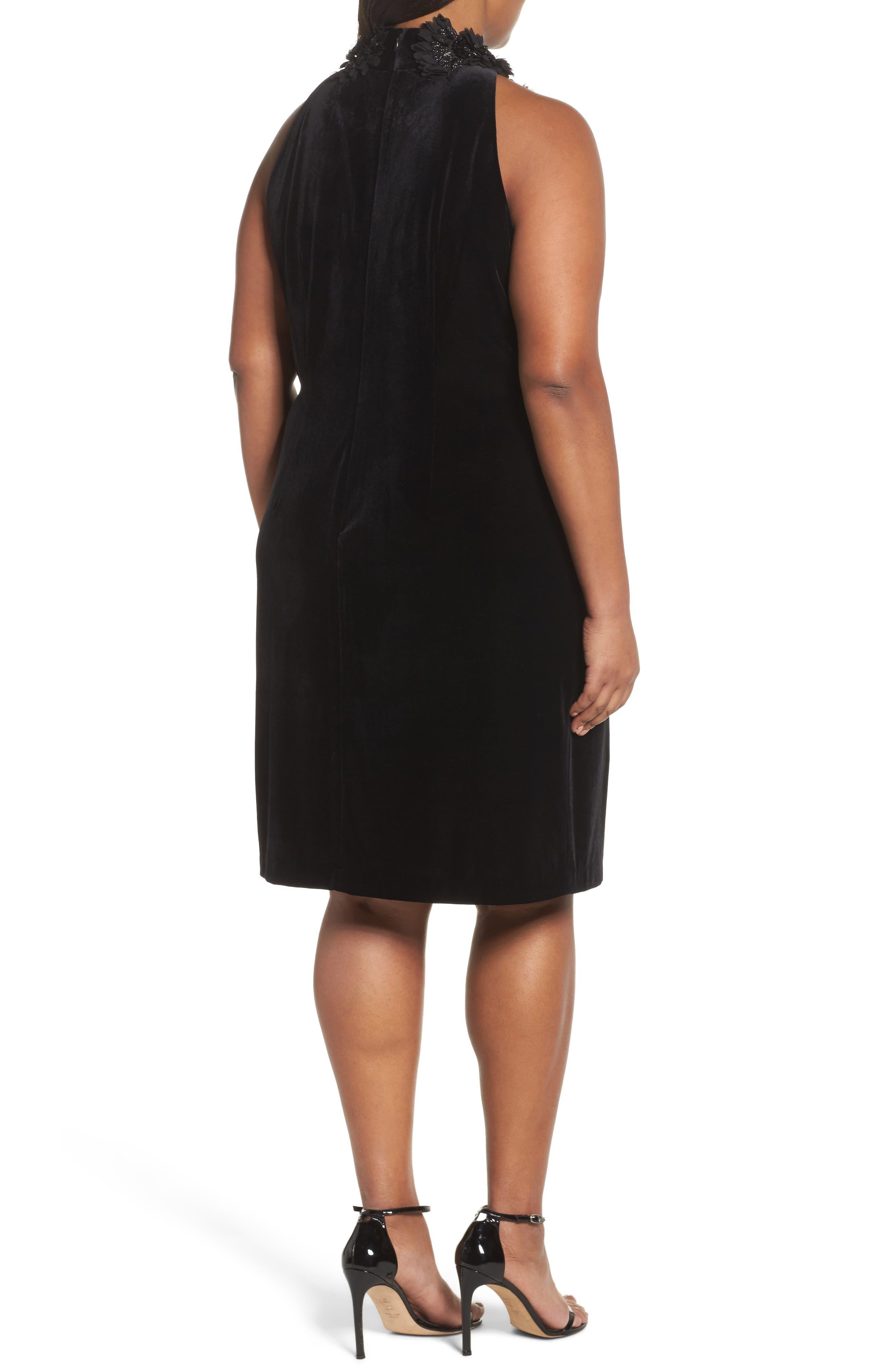 Embellished Velvet Shift Dress,                             Alternate thumbnail 2, color,                             Black