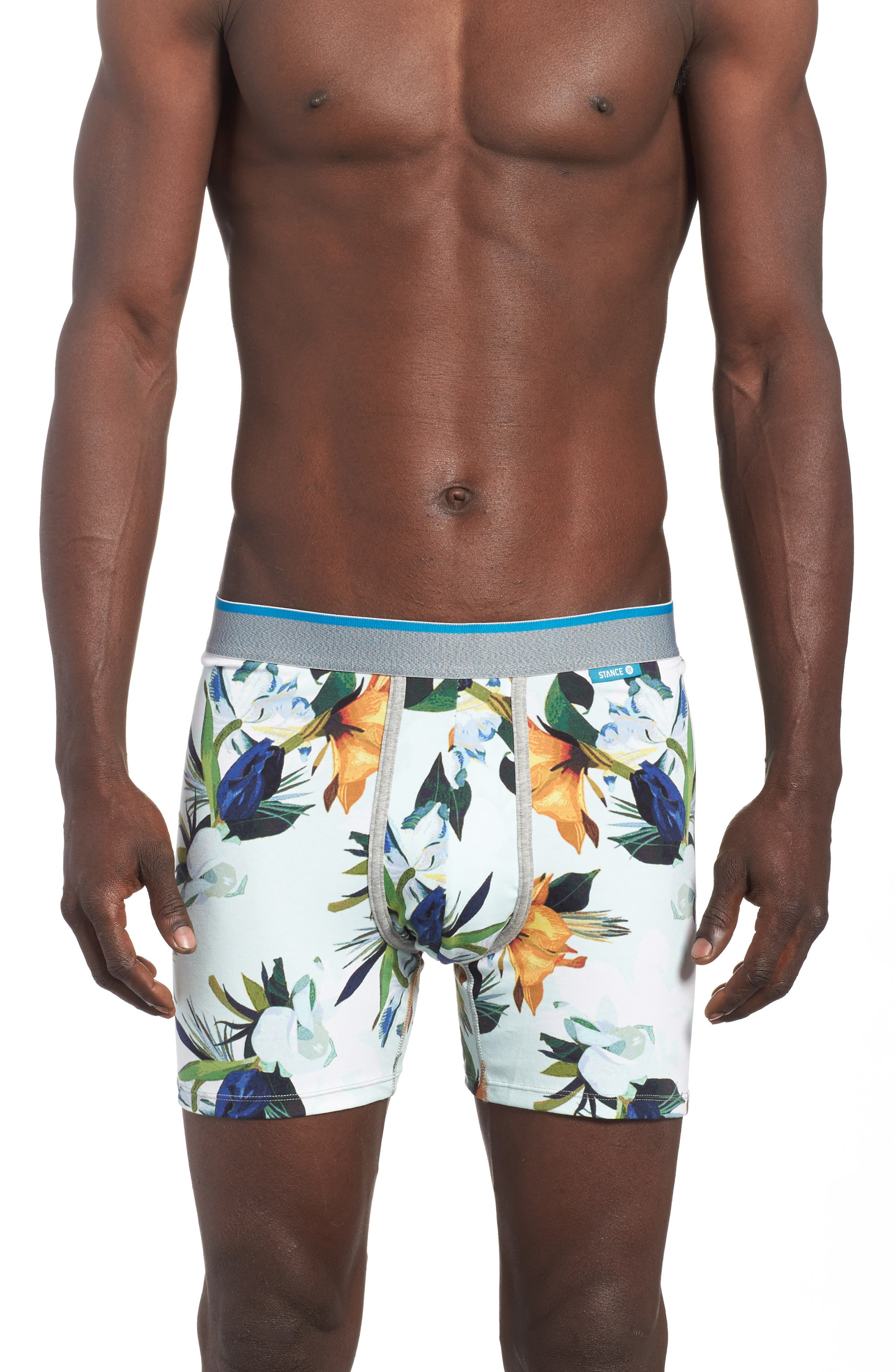 Aqua Floral Boxer Briefs,                             Main thumbnail 1, color,                             Medium Blue