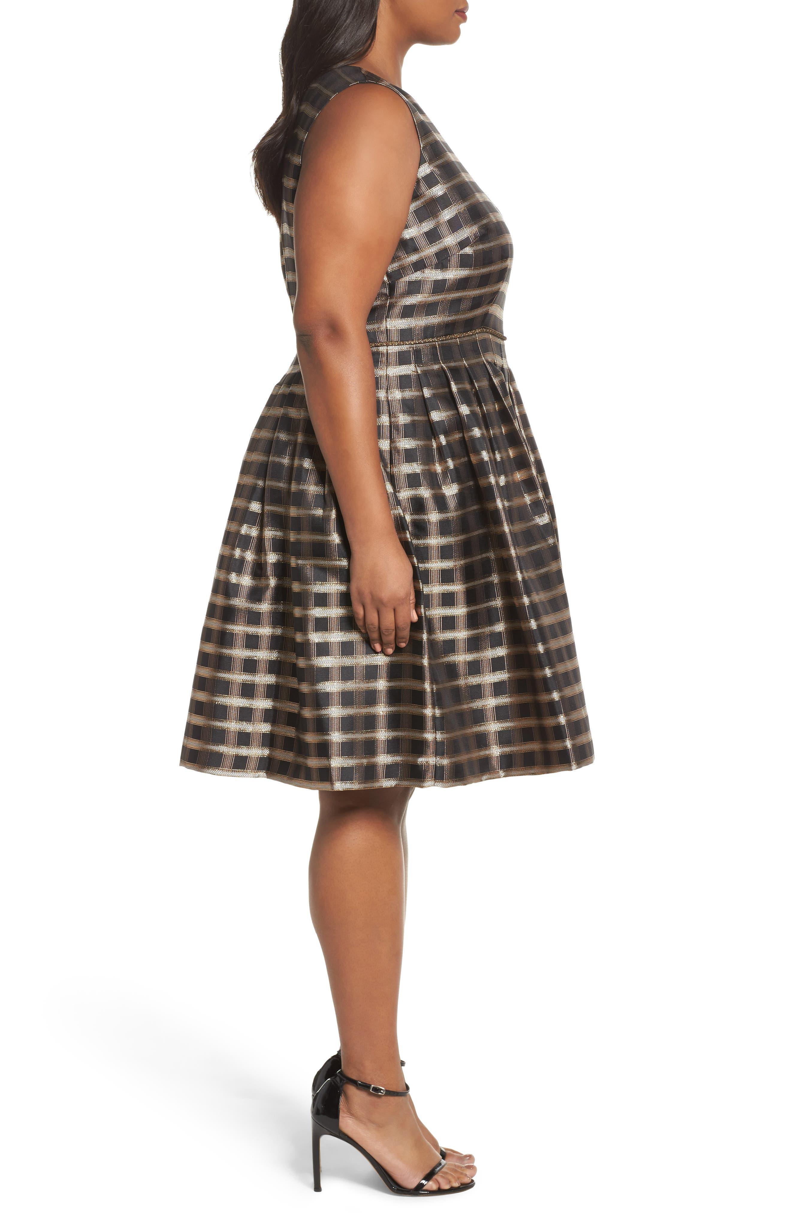 Metallic Jacquard Fit & Flare Dress,                             Alternate thumbnail 3, color,                             Black/ Gold/ Copper