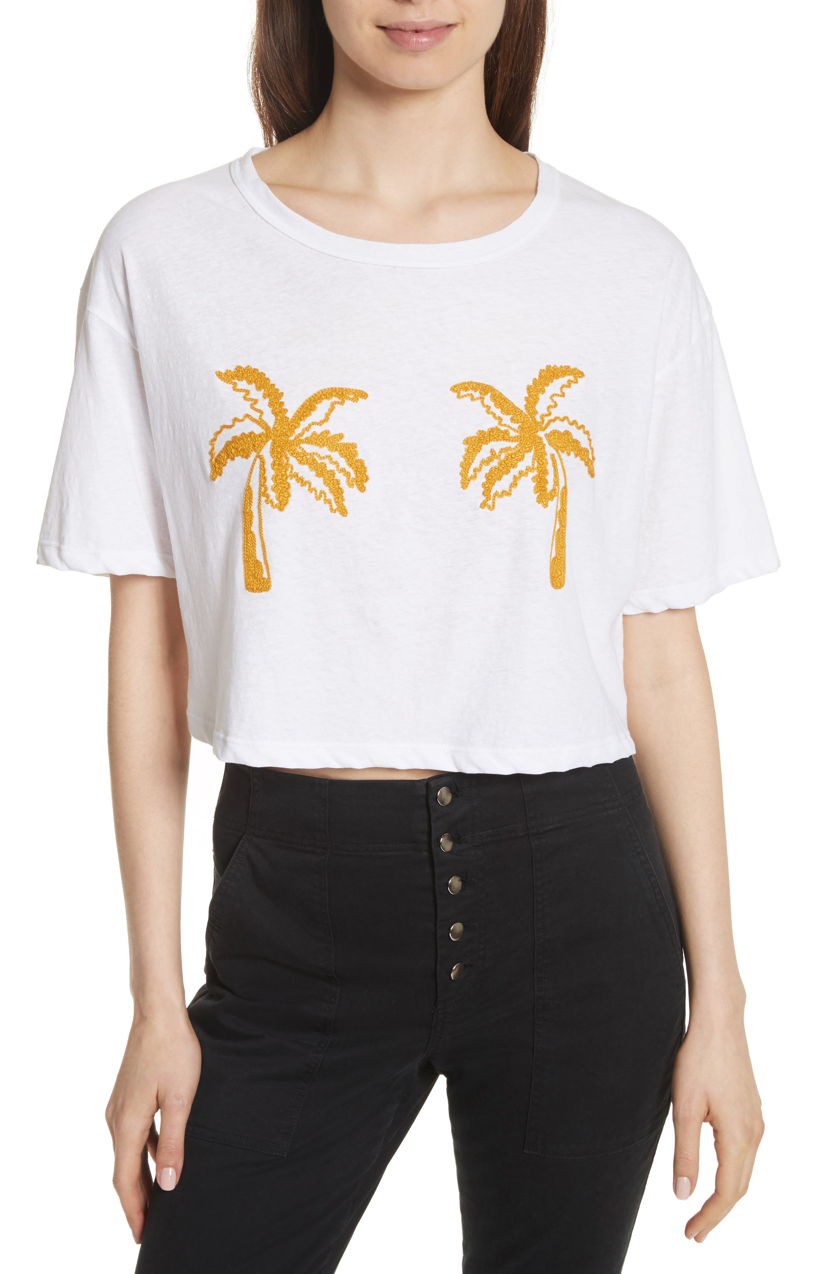 Teagan Palm Embroidered Crop Tee,                         Main,                         color, White